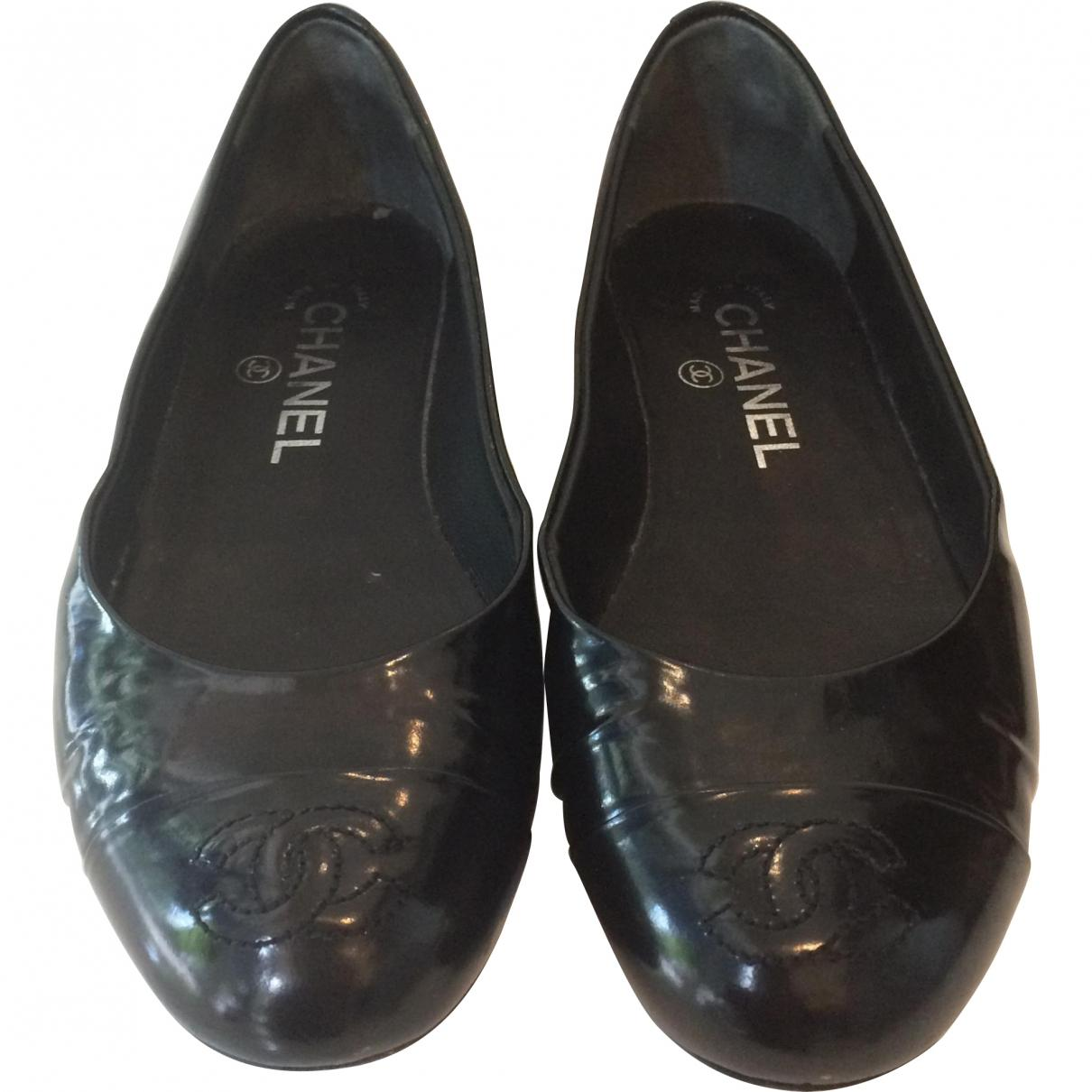 Lyst - Chanel Pre-owned Leather Flats In Black