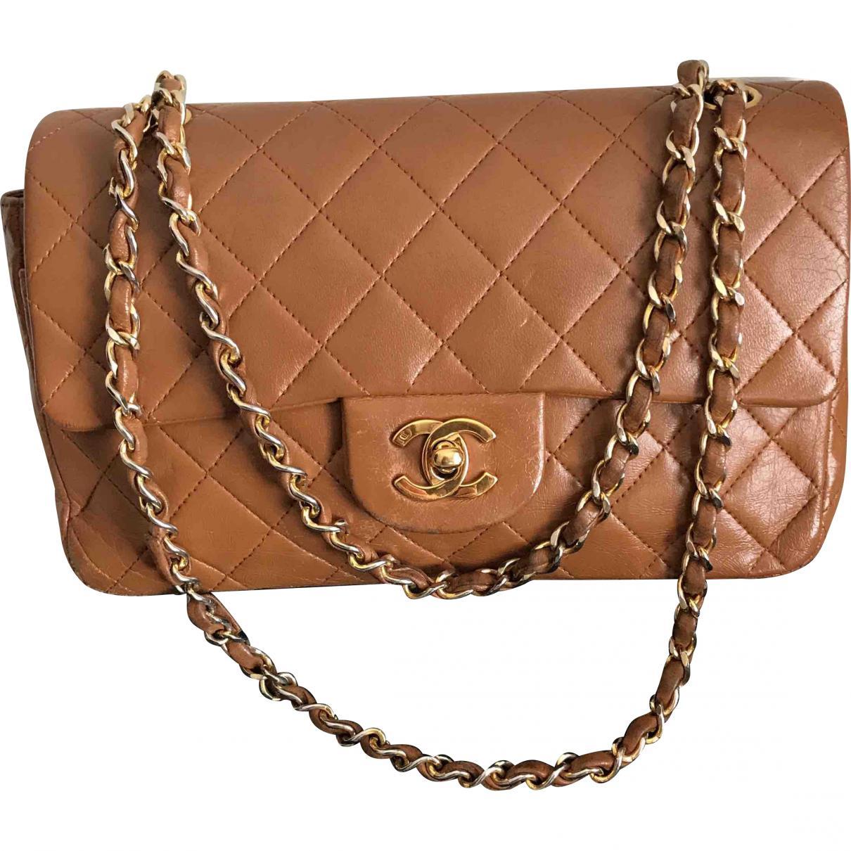 Chanel Women S Natural Pre Owned Vintage Timeless Camel Leather Handbag