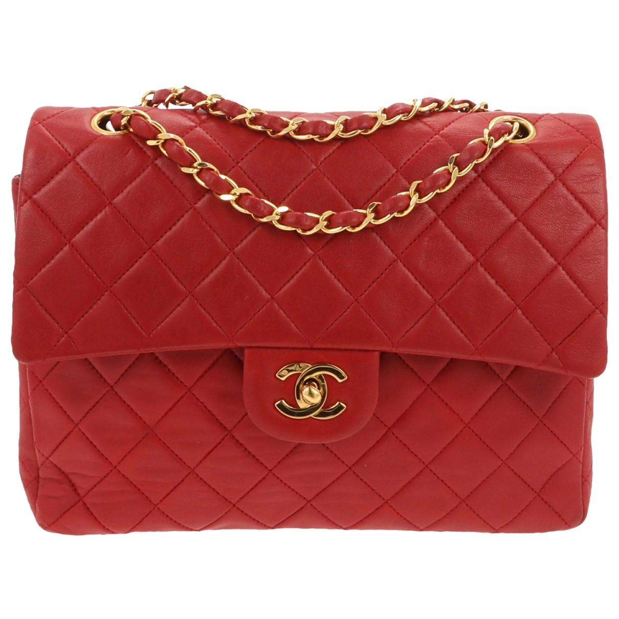 08b1e5ff19a6 Chanel Timeless classique Leather Crossbody Bag in Red - Lyst