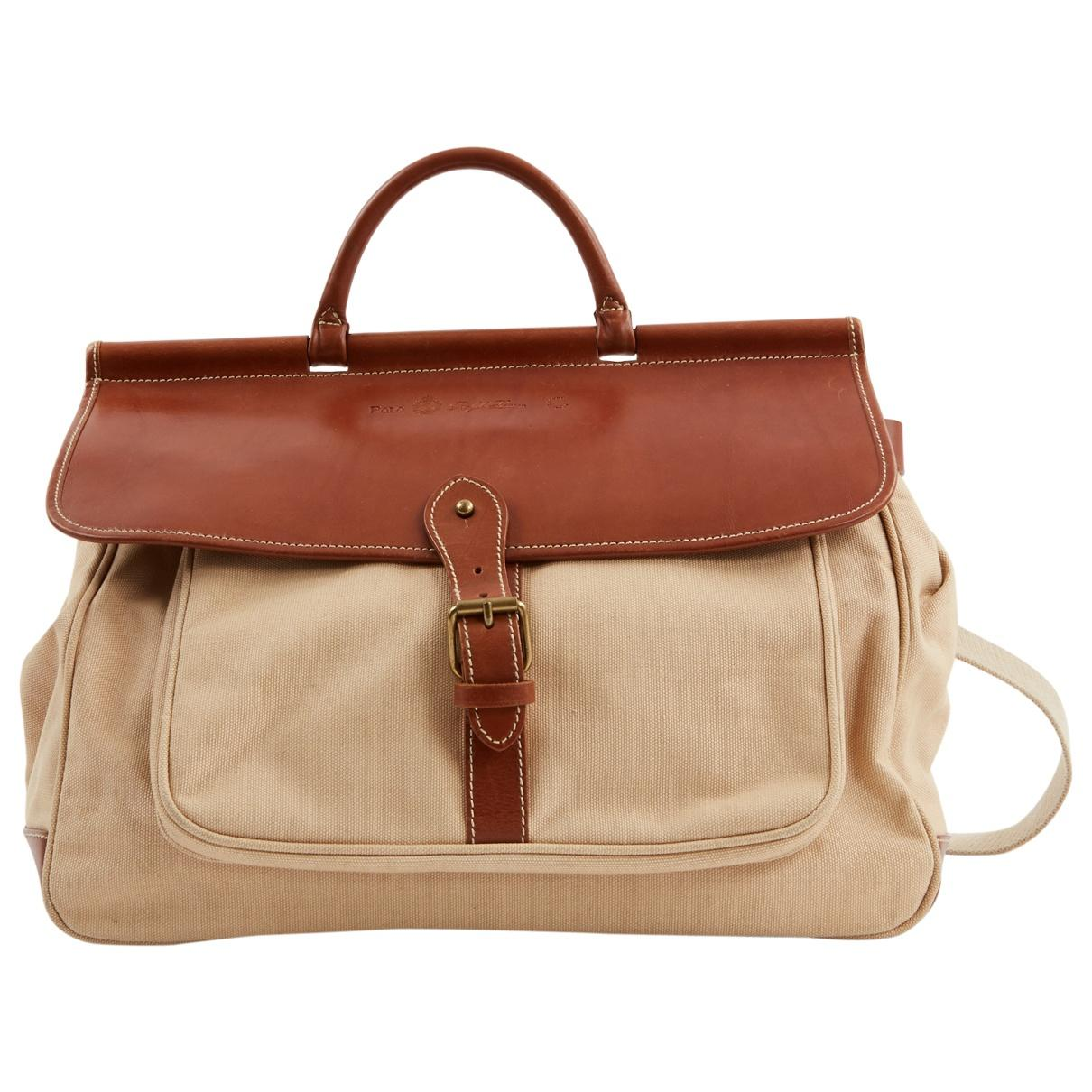 8b2e541700 Polo Ralph Lauren Pre-owned Beige Cloth Handbags in Natural - Lyst