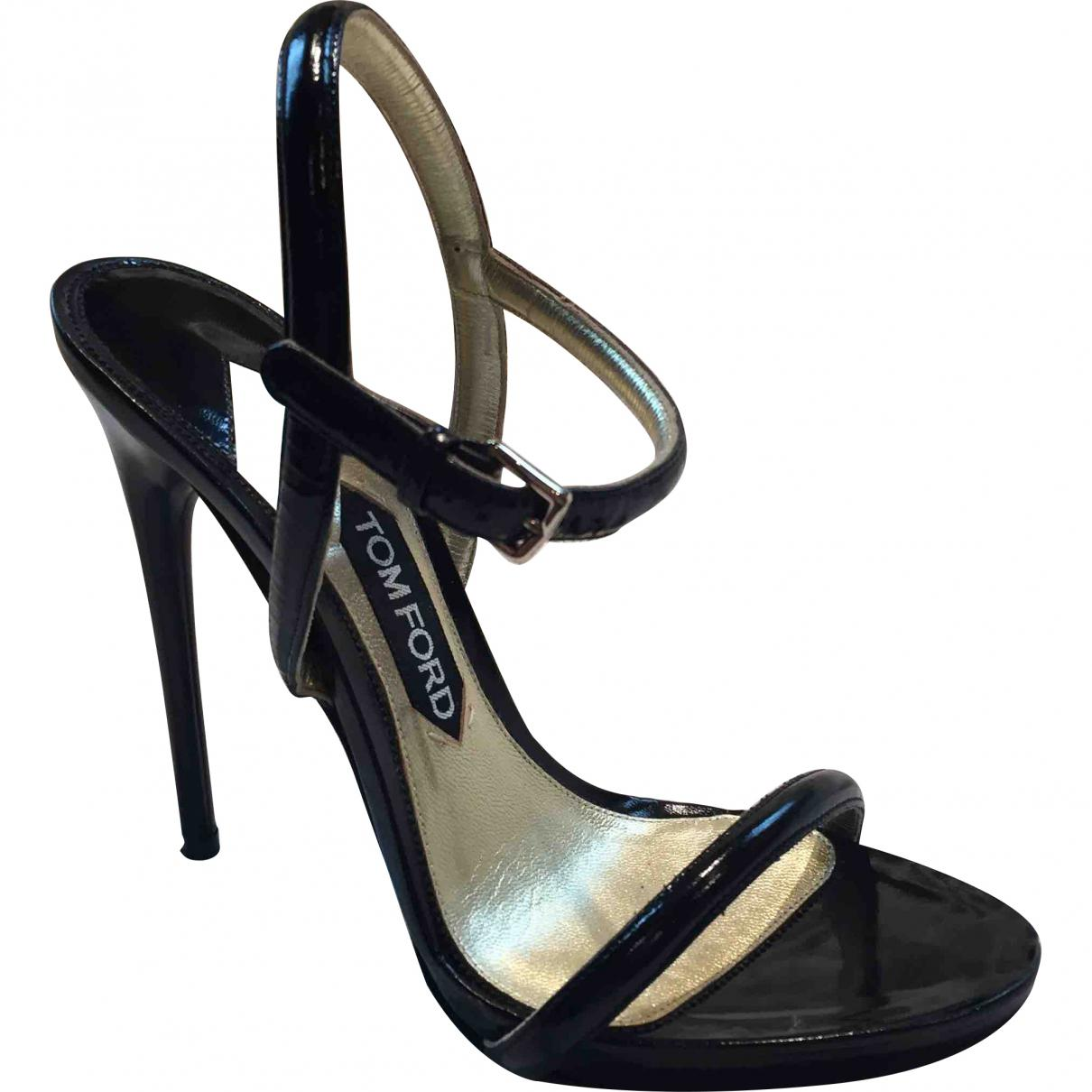 946ff509480 Lyst - Tom Ford Black Leather Sandals in Black