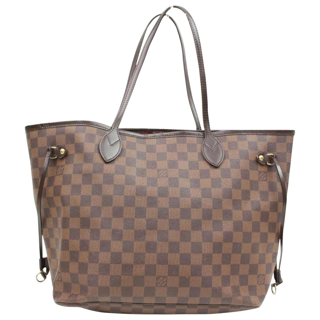 b19780e0f121 Lyst - Louis Vuitton Neverfull Brown Cloth Handbag in Brown