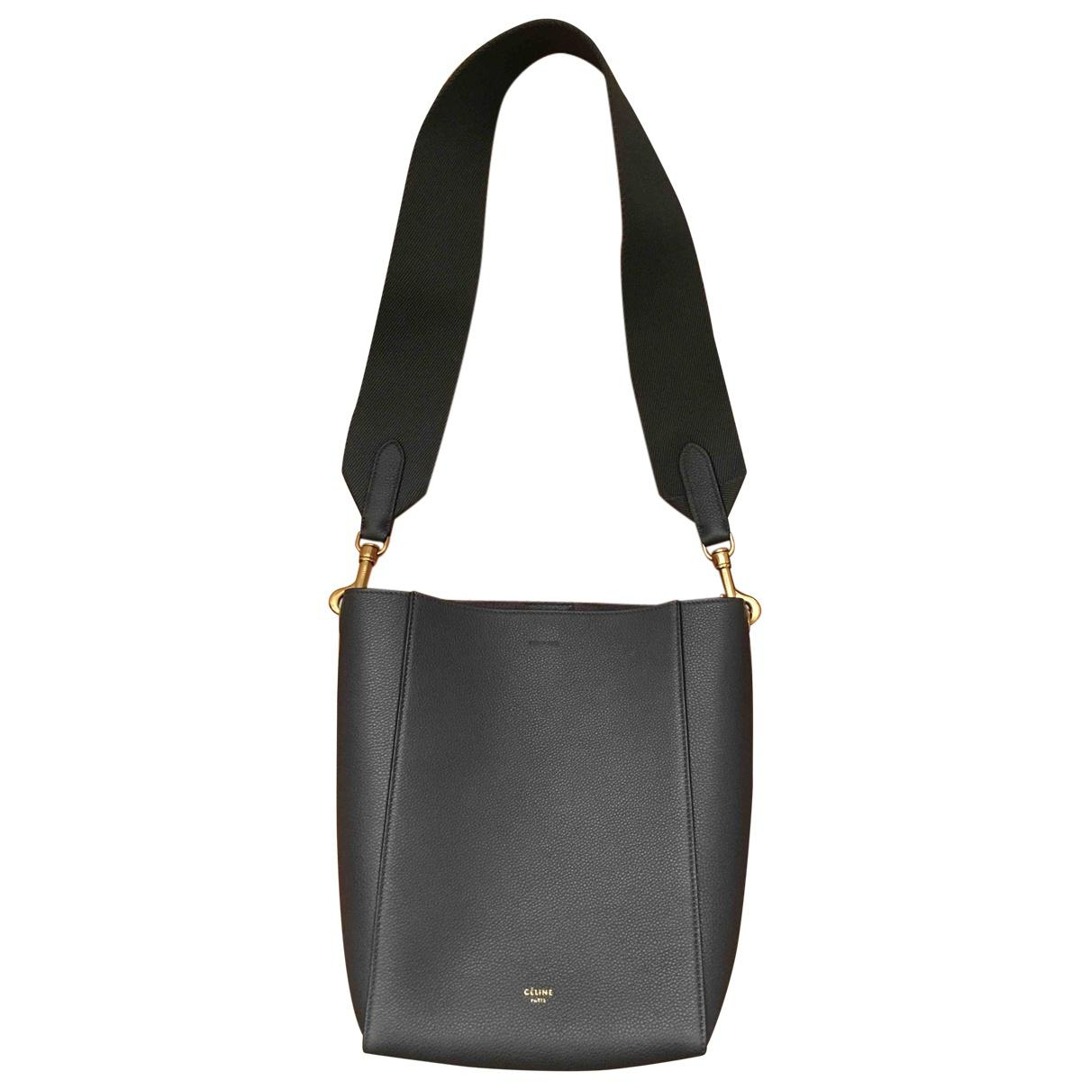 Céline Seau Sangle Leather Handbag in Gray - Lyst 88bc382d62512