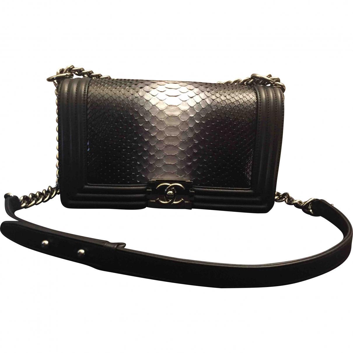 788964026fe8 Chanel Pre-owned Boy Python Bag in Black - Lyst
