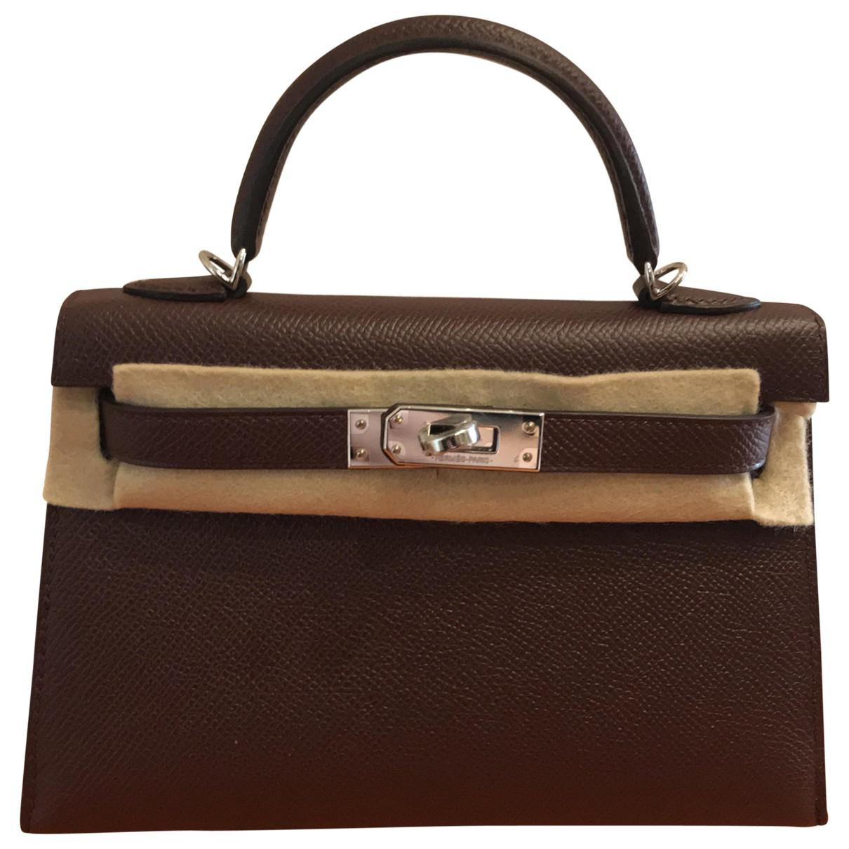 e76ccc5c1efb Lyst - Hermès Pre-owned Kelly Mini Leather Crossbody Bag in Brown