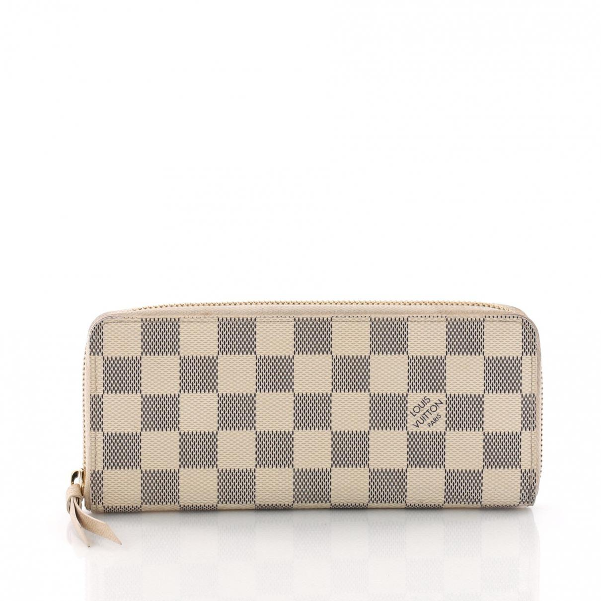 42556ac25cc4e Lyst - Louis Vuitton Clemence Cloth Wallet in White