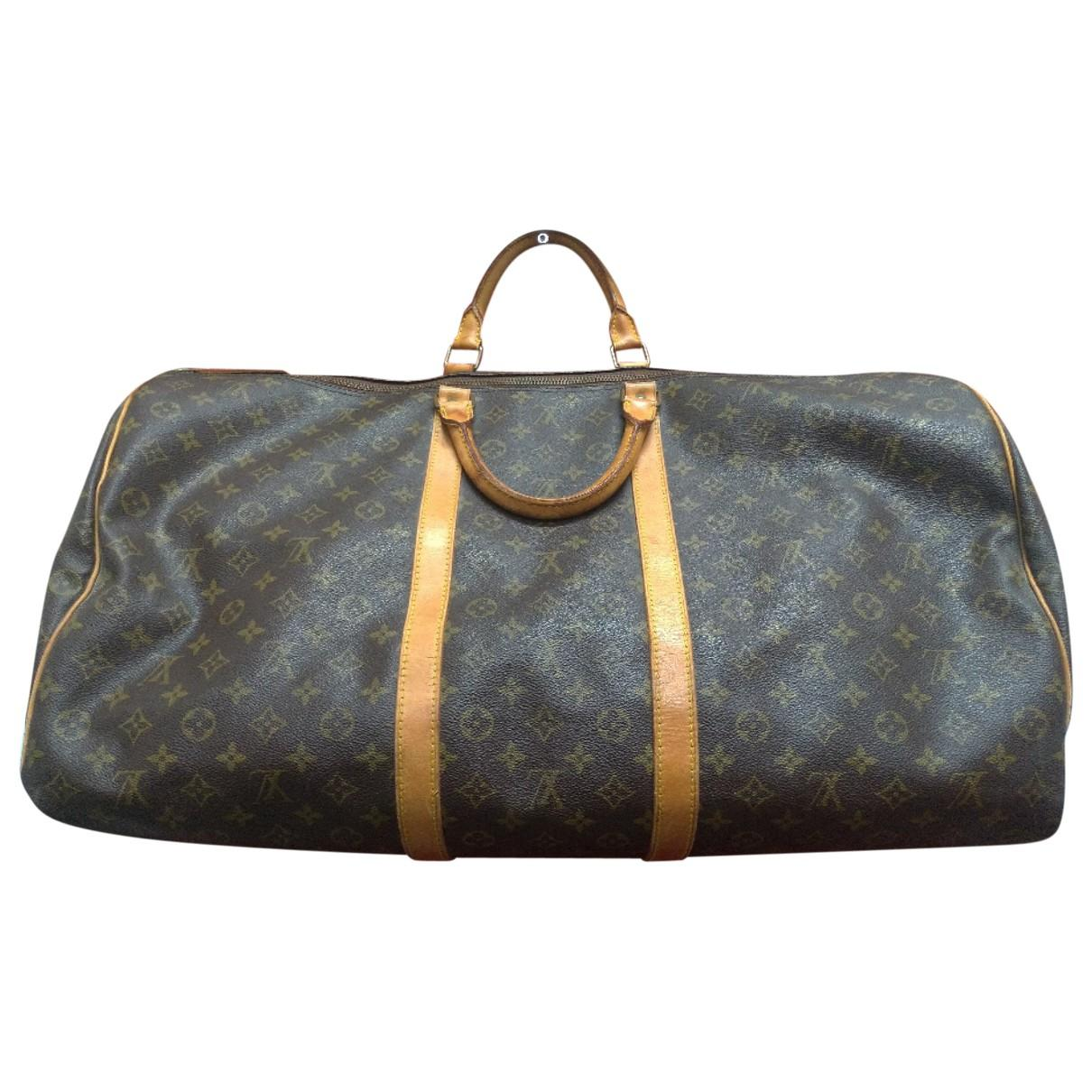 Lyst - Louis Vuitton Pre-owned Keepall Brown Cloth Bag in Brown for Men 88d9fa983f28c