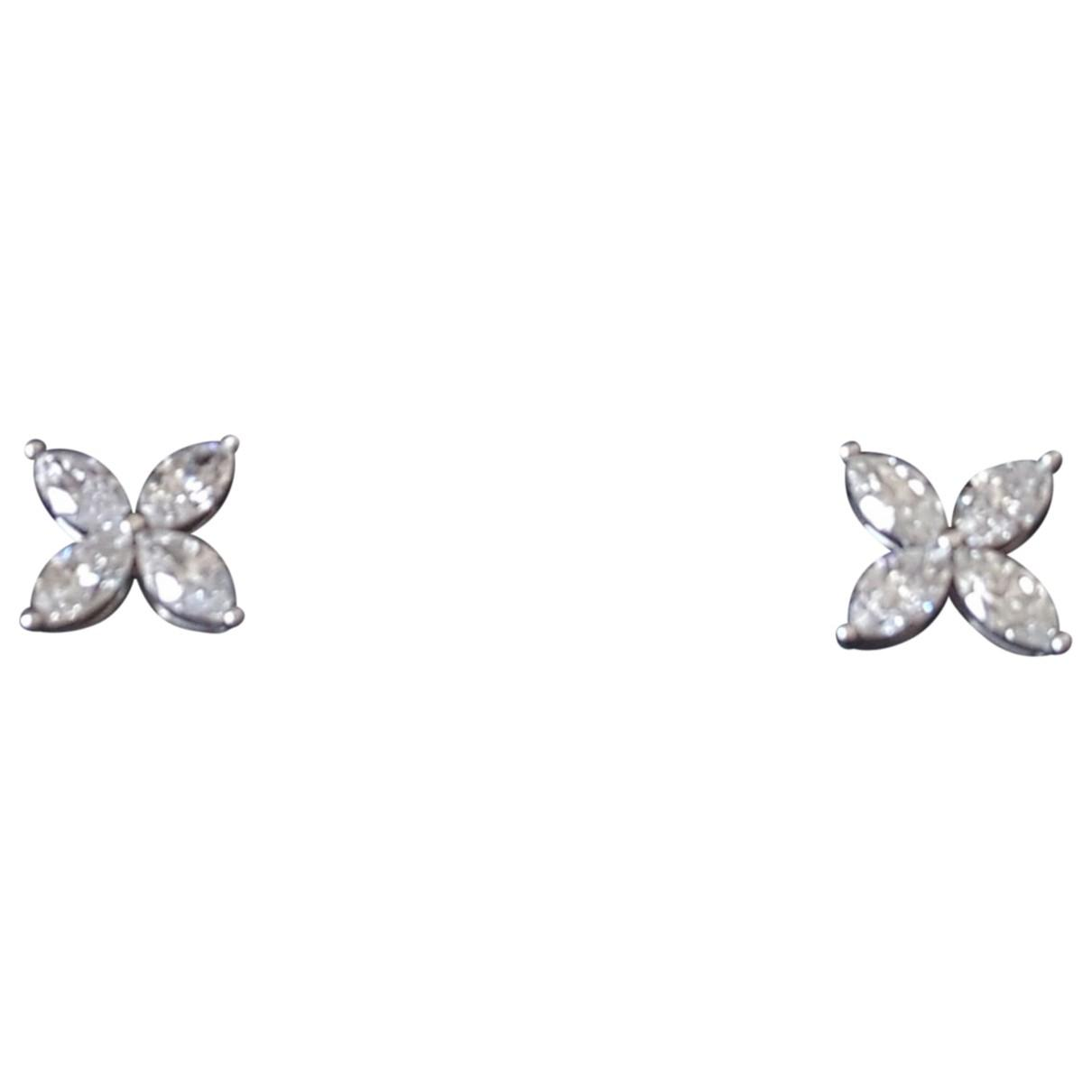 190551aed Lyst - Tiffany & Co. Pre-owned Victoria White Platinum Earrings in White