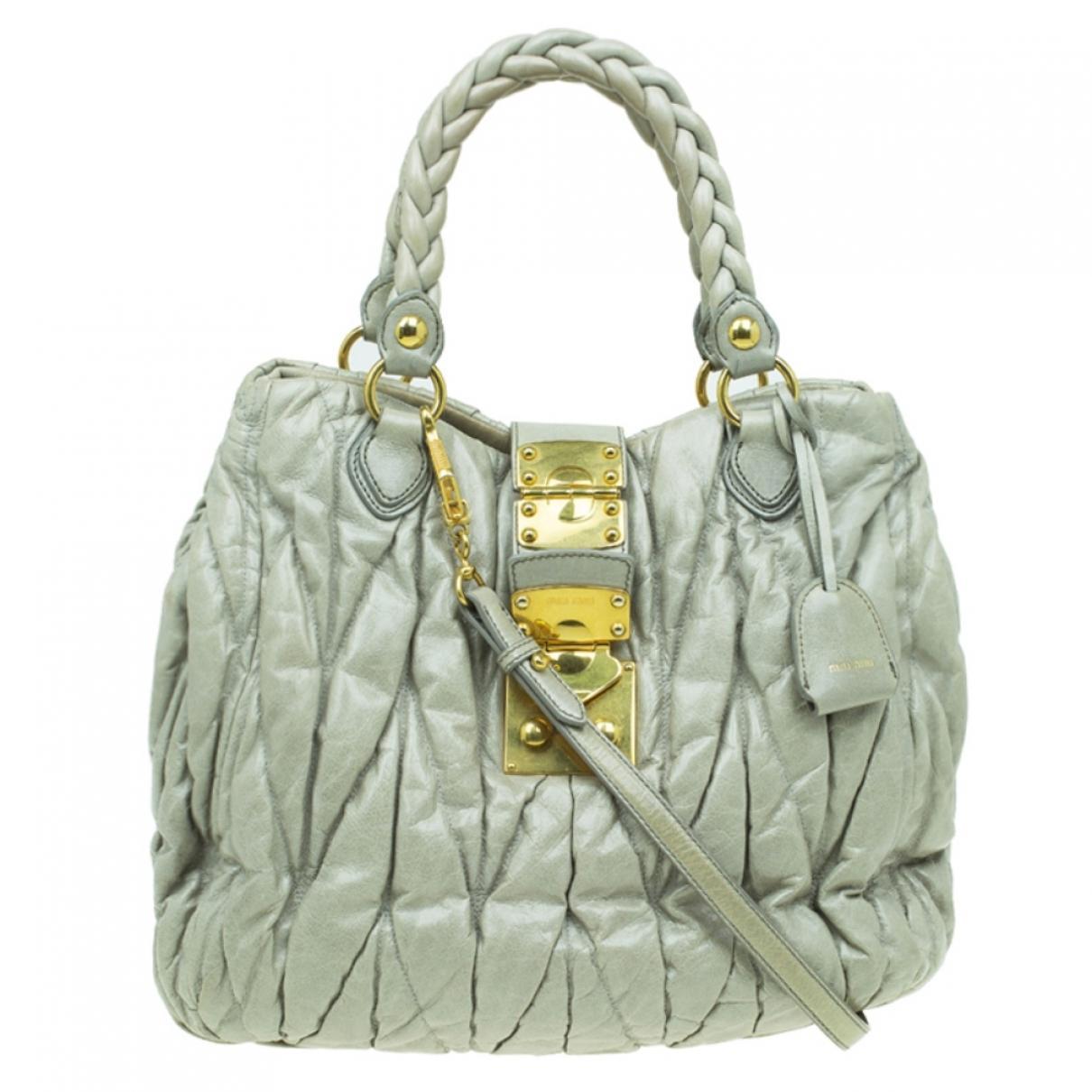 Lyst - Miu Miu Matelassé Green Leather Handbag in Green 72a409c29b47d