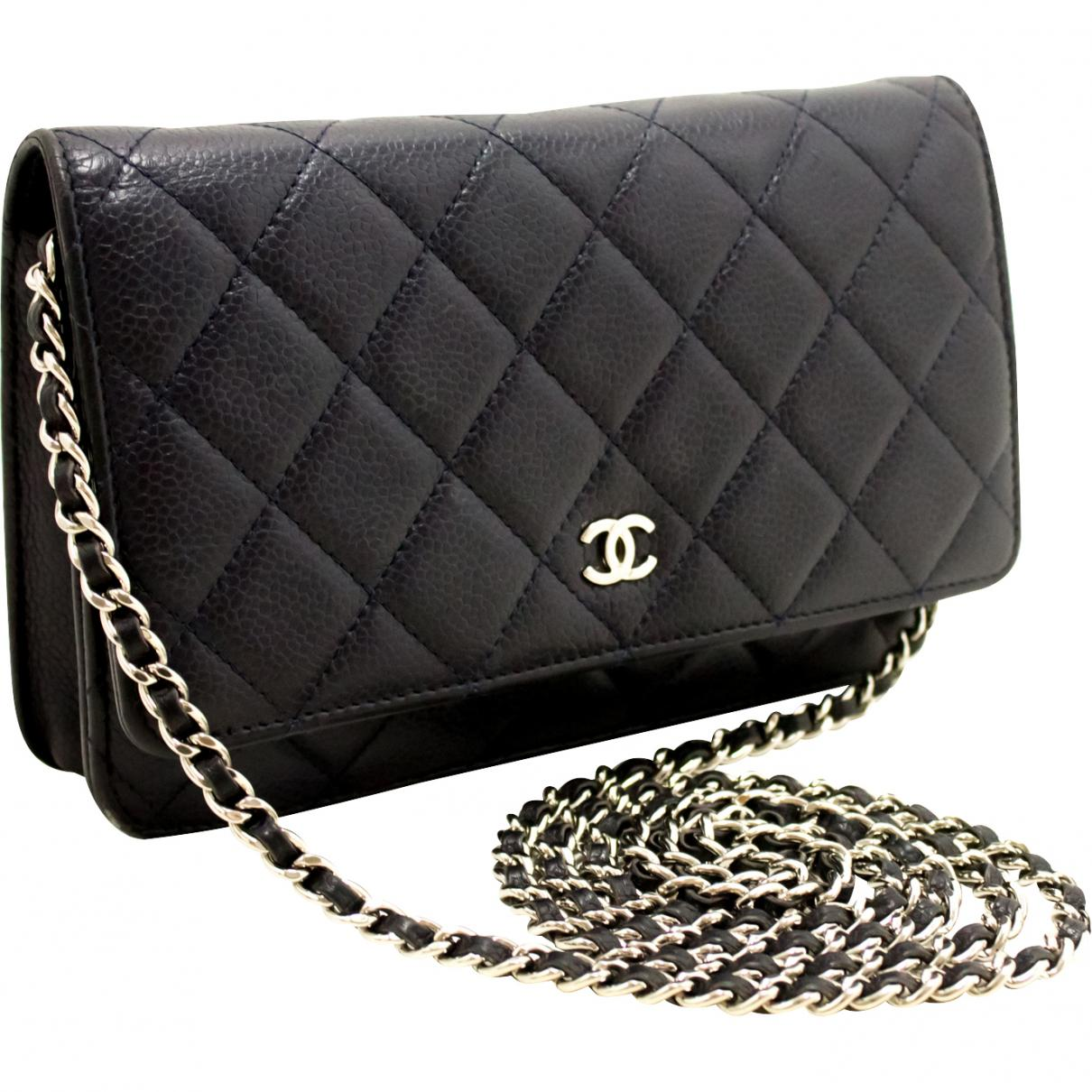 9030d7ab57e5 Chanel - Blue Pre-owned Wallet On Chain Navy Leather Handbags - Lyst. View  fullscreen
