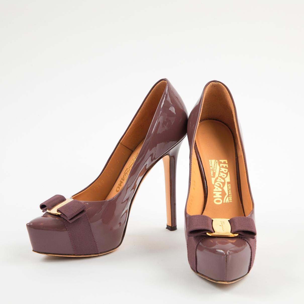 3045d84ad18a Ferragamo - Purple Patent Leather Heels - Lyst. View fullscreen