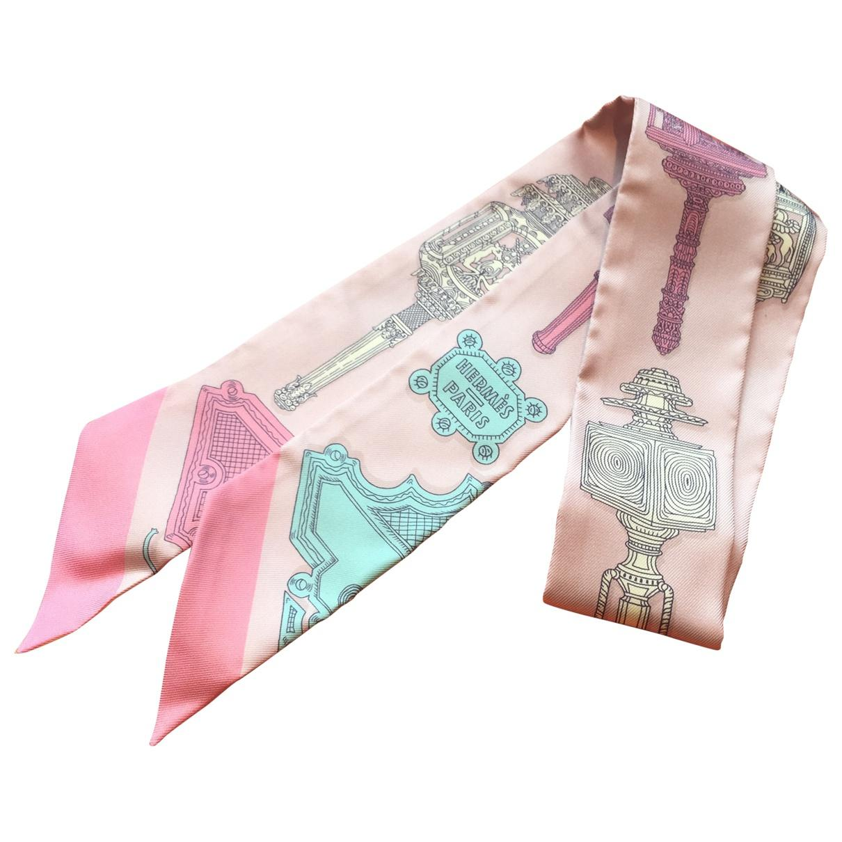 6f0e9ef888a8 Hermès Pre-owned Twilly Pink Silk Scarves in Pink - Lyst