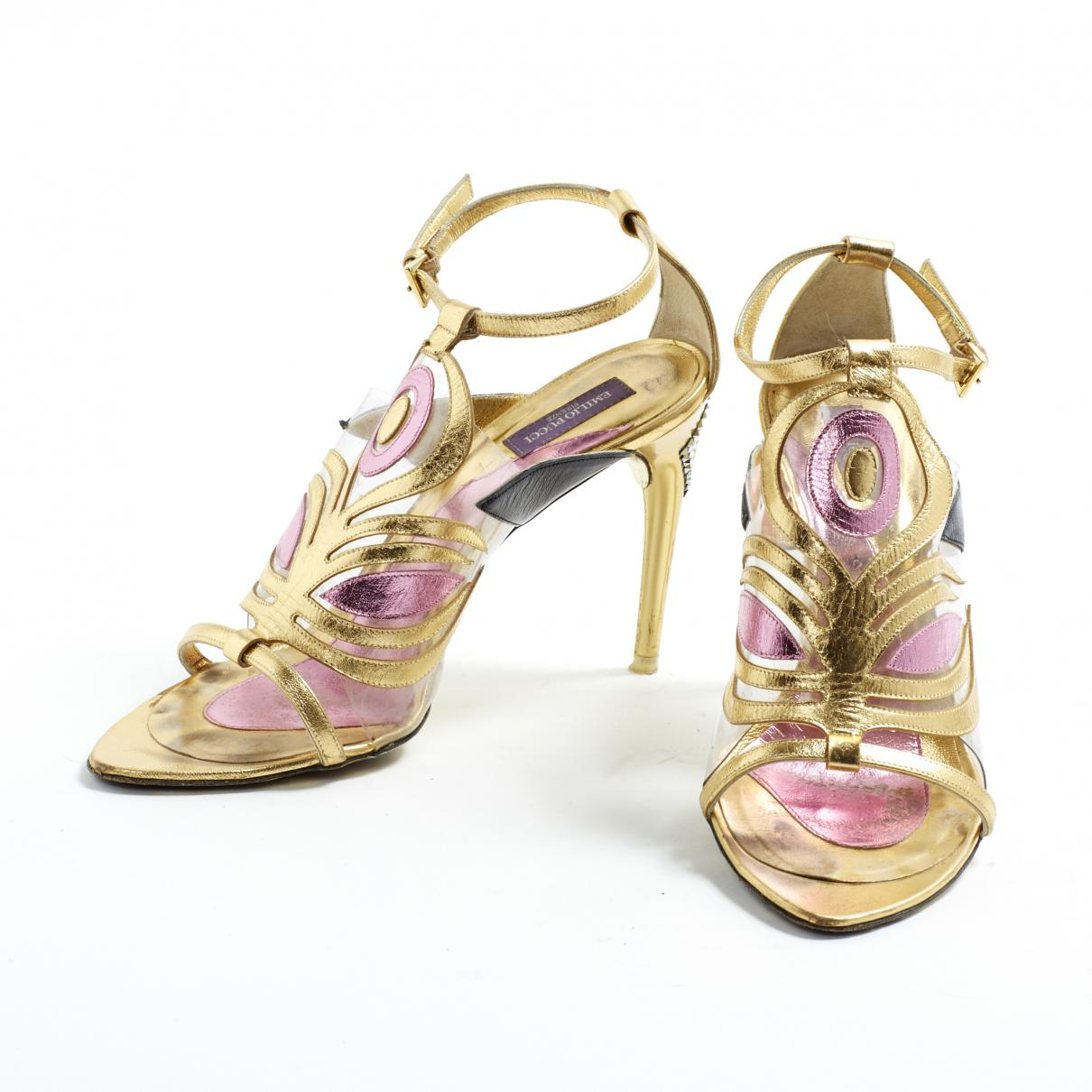 051df5d8234 ... Metallic Gold Leather Sandals - Lyst. View fullscreen