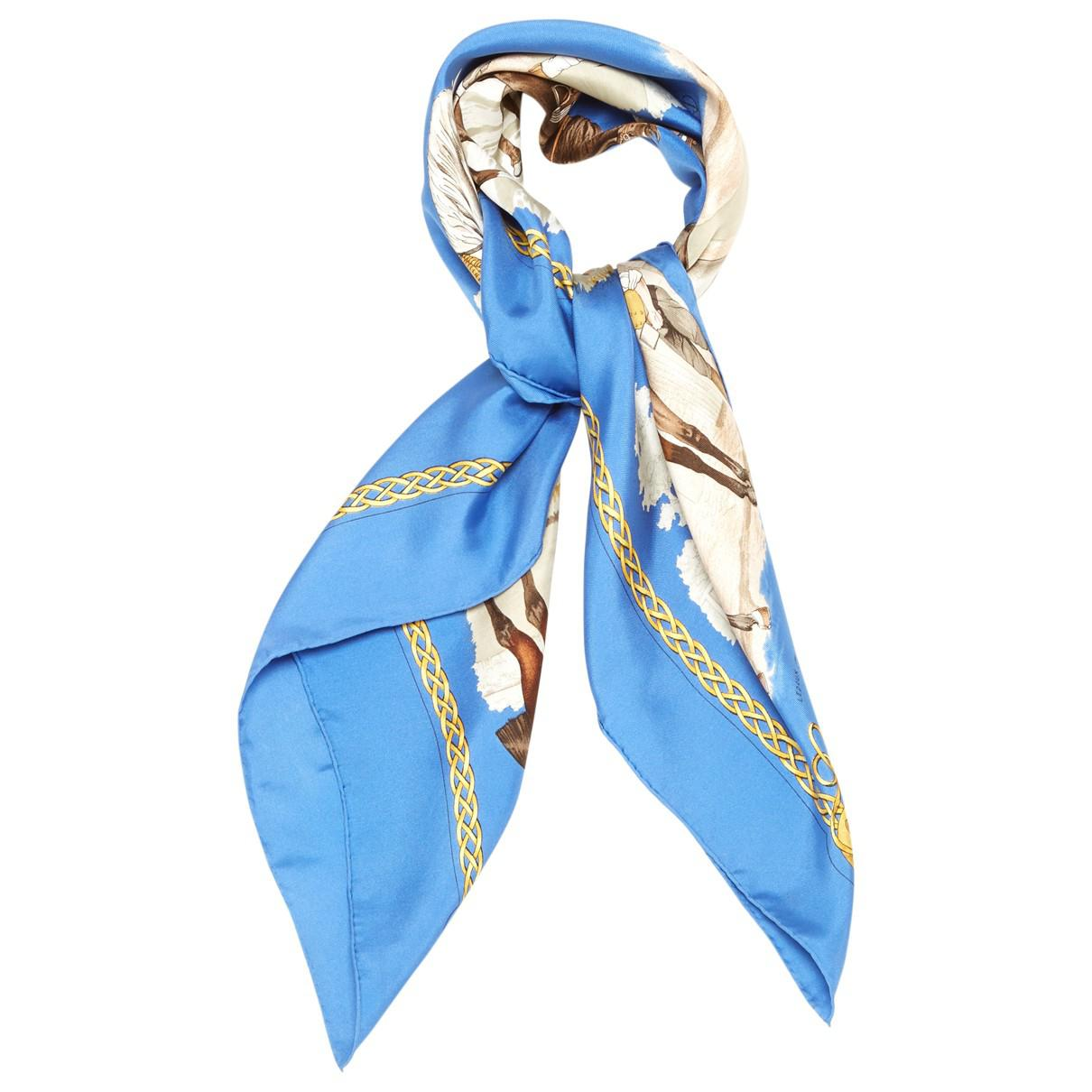 Lyst - Hermès Pre-owned Carré Silk Neckerchief in Blue 34490bbc0bc
