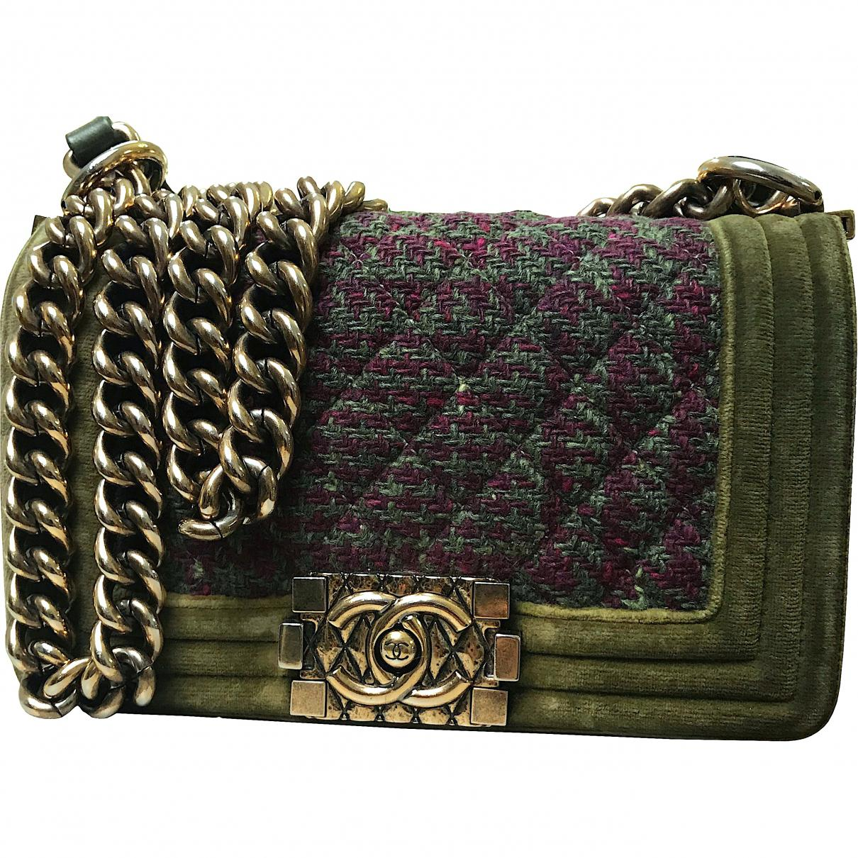7cc2fe89ad358e Chanel Pre-owned Boy Tweed Crossbody Bag in Green - Lyst