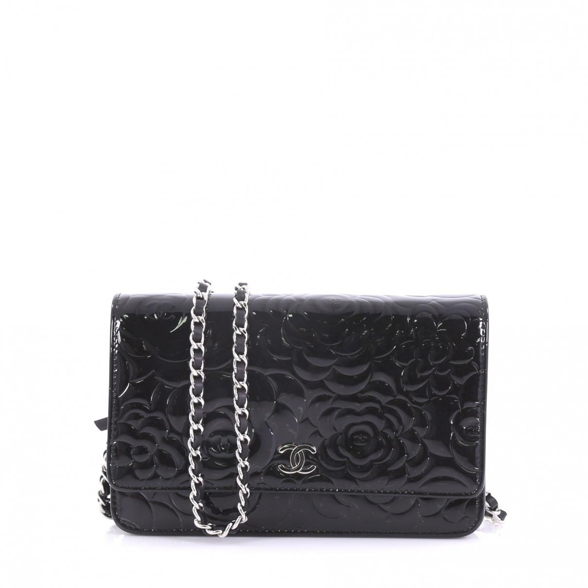 33fd2abc8c8d Lyst - Chanel Wallet On Chain Black Patent Leather Handbag in Black