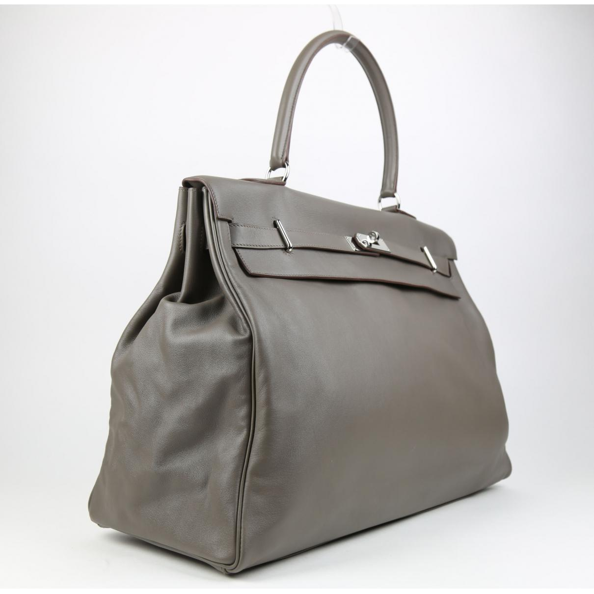 f5bbe5f75e97 ... wholesale lyst hermès kelly voyage leather travel bag in gray 569db  2206a