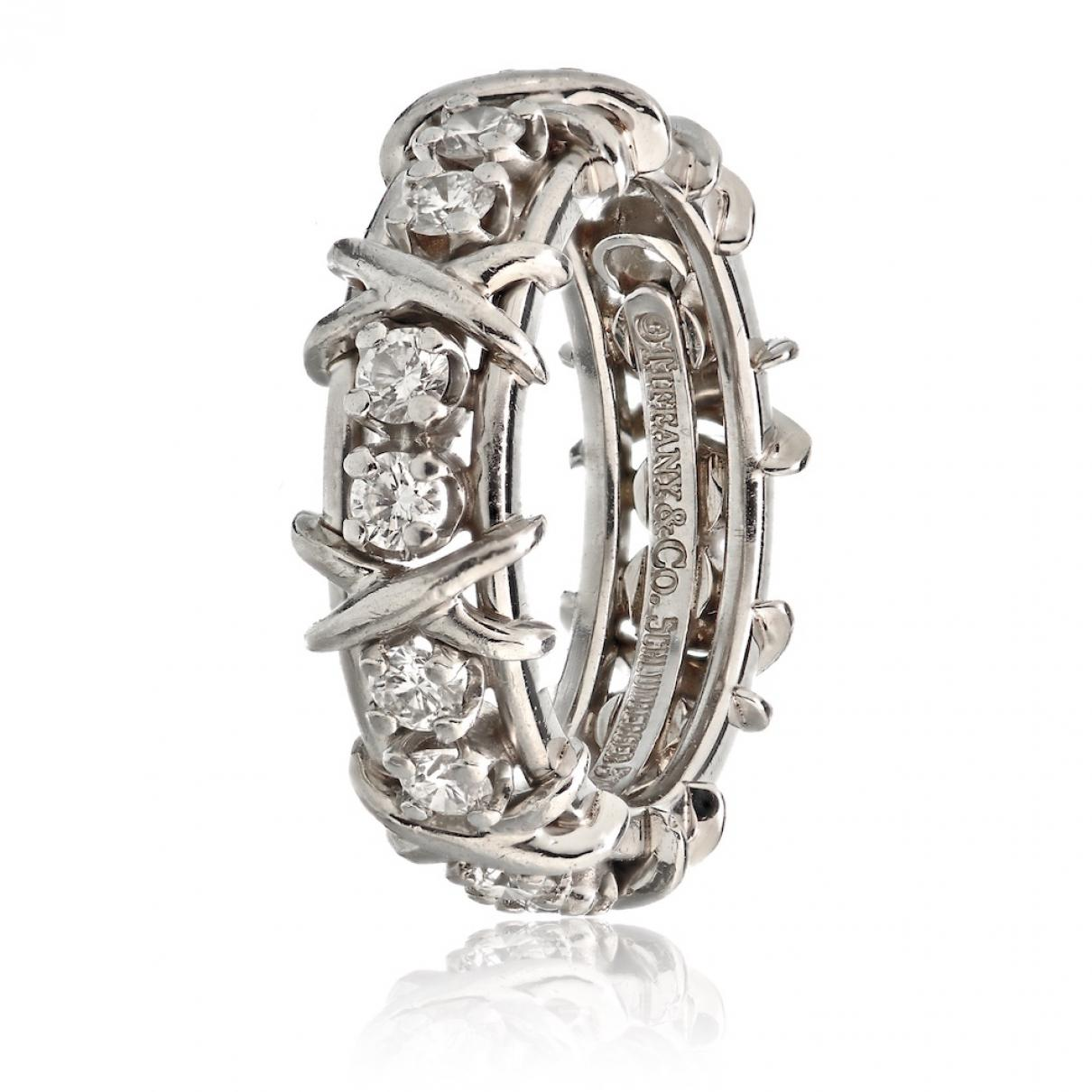 019415392 Tiffany & Co. Schlumberger White Platinum Ring in White - Lyst
