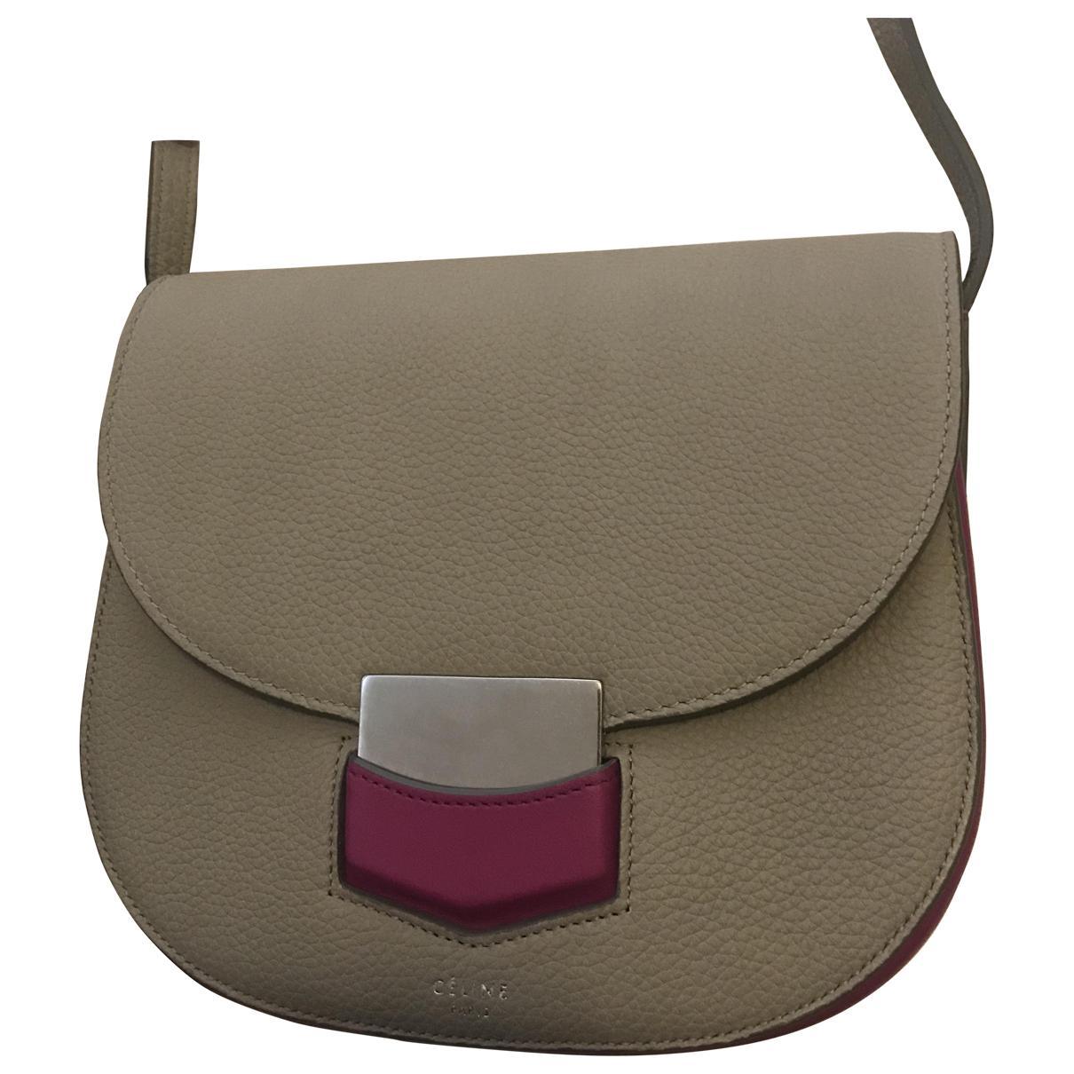 ca81a5795a Céline Trotteur Leather Crossbody Bag in Gray - Lyst