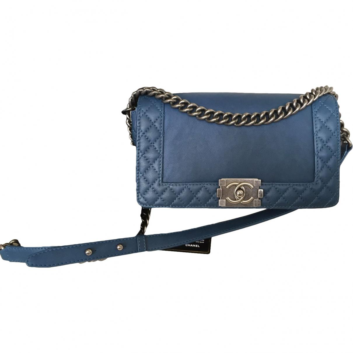 9fa6913dde32 Lyst - Chanel Pre-owned Boy Leather Handbag in Blue