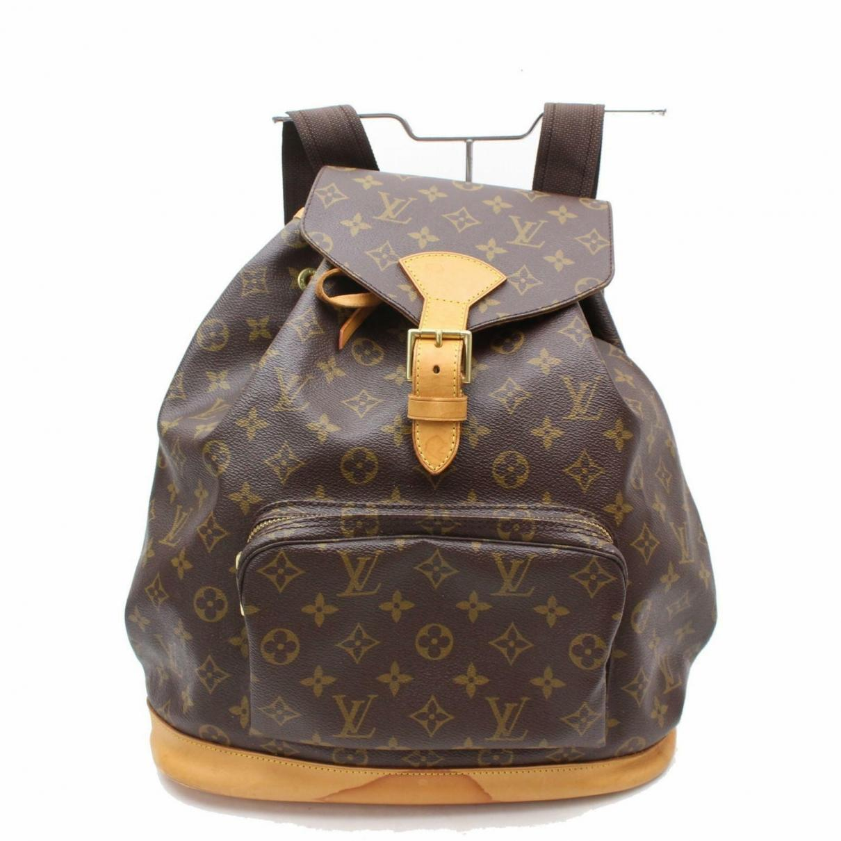 9d4efb41f8aa Lyst - Louis Vuitton Montsouris Leather Backpack in Brown - Save ...