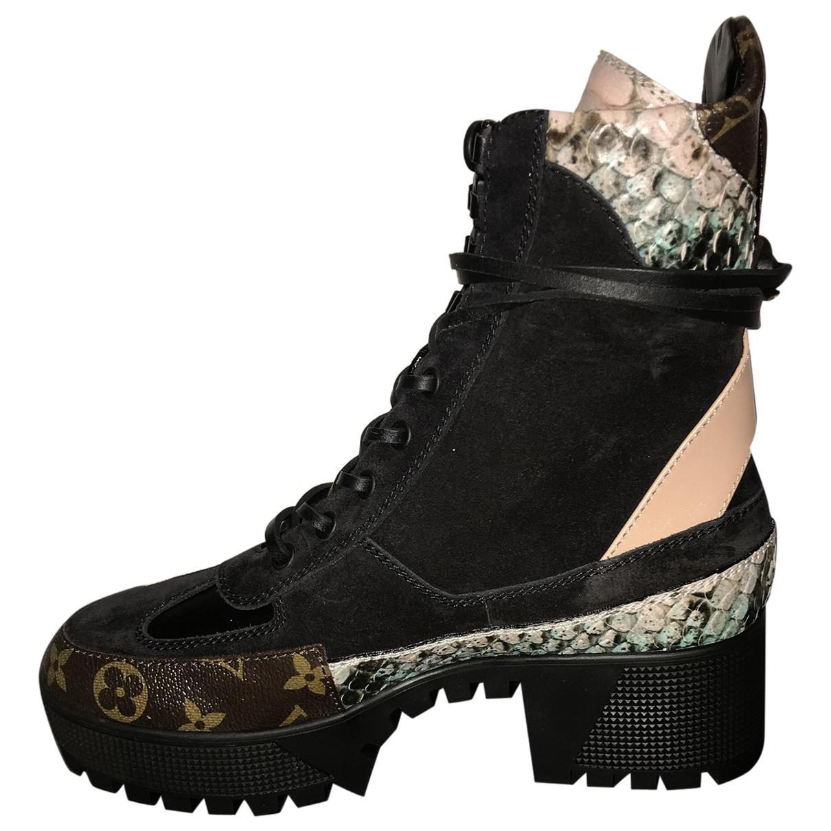 2a1ed78ce84e Louis Vuitton Laureate Lace Up Boots in Black - Lyst
