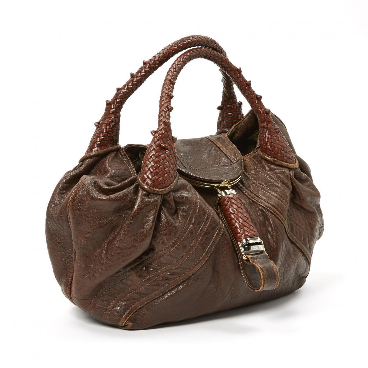 1b8ecfbbb0e2 Fendi Pre-owned Spy Brown Leather Handbags in Brown - Lyst