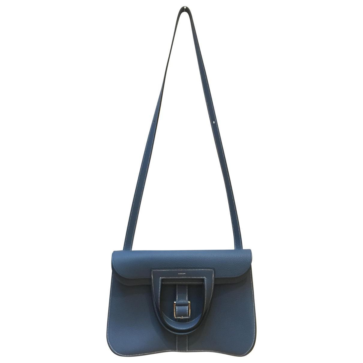 ae5f2ad950b5 Lyst - Hermès Halzan Leather Crossbody Bag in Blue