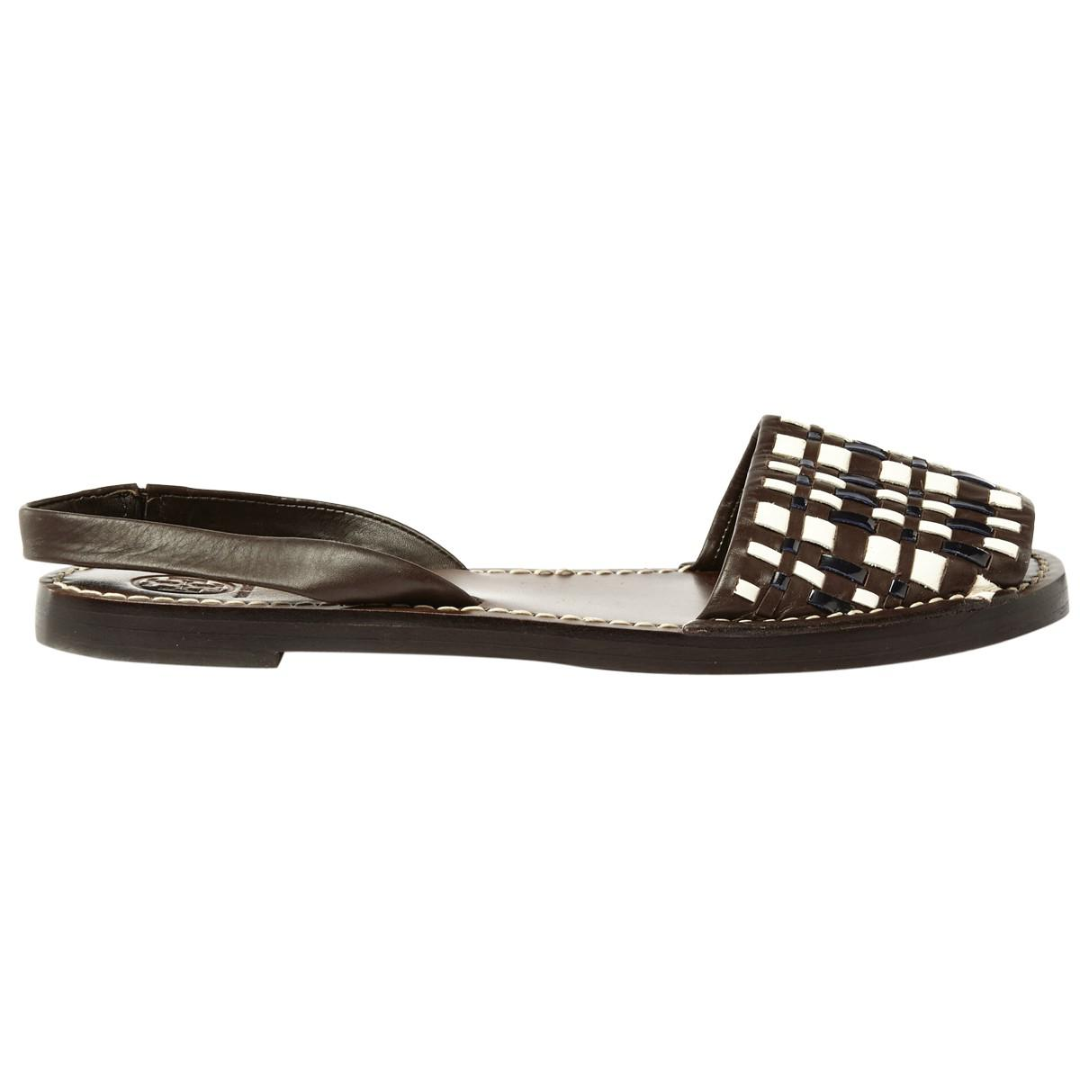 e34bf80380455 Lyst - Tory Burch Brown Leather Sandals in Brown