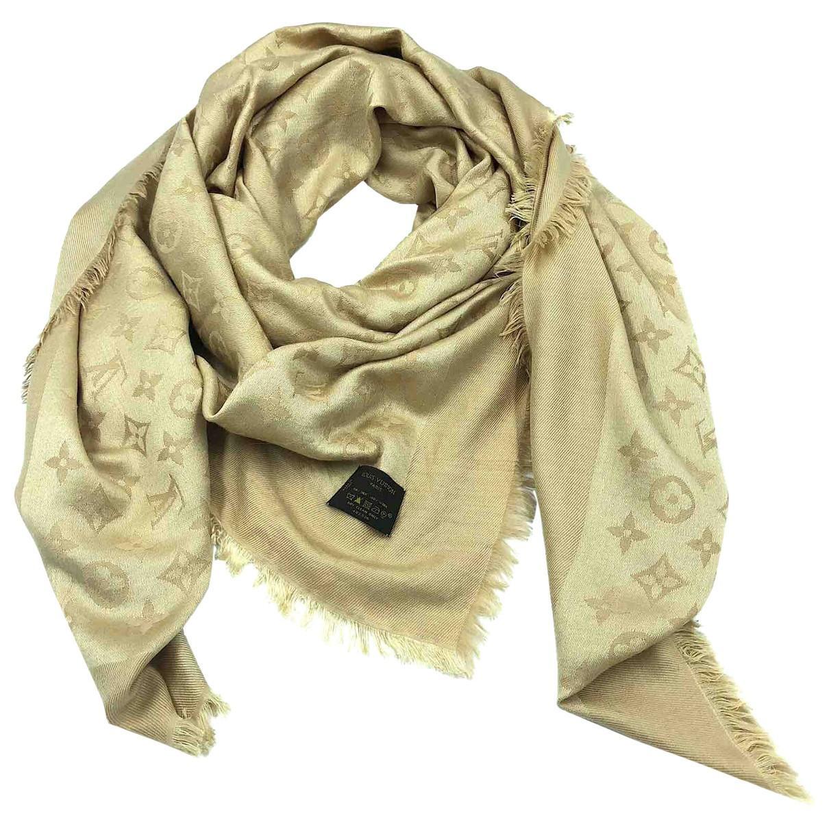 d188c1349c57 Lyst - Louis Vuitton Pre-owned Châle Monogram Shine Beige Wool ...