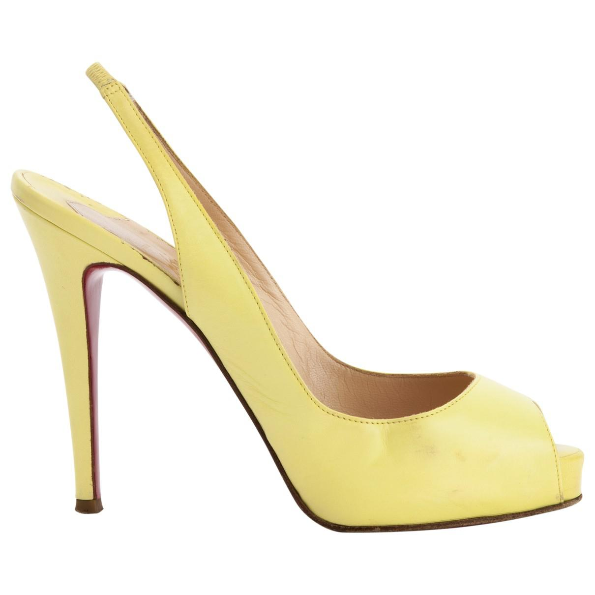 7343ec888cd ... best price lyst christian louboutin pre owned leather sandals in yellow  6f382 5c221