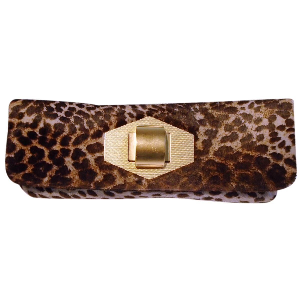 5a5421aa377d Lyst - Lanvin Pre-owned Pony-style Calfskin Clutch Bag in Brown