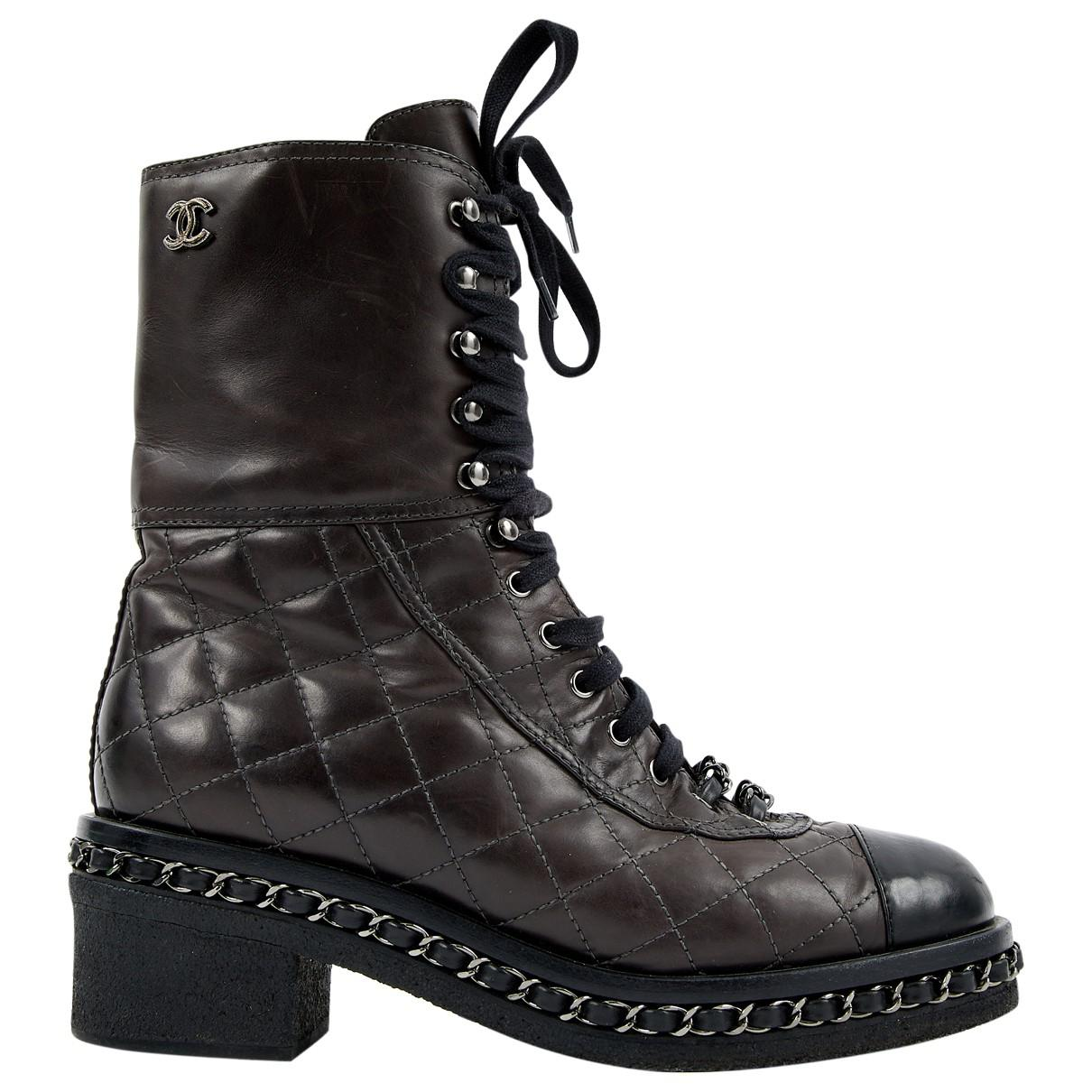 888528d28bc Chanel. Women s Quilted Cap-toe Combat Boots Brown