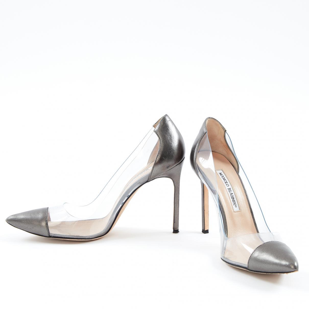 5e8b4050cad Manolo Blahnik - Metallic Pre-owned Silver Leather Heels - Lyst. View  fullscreen