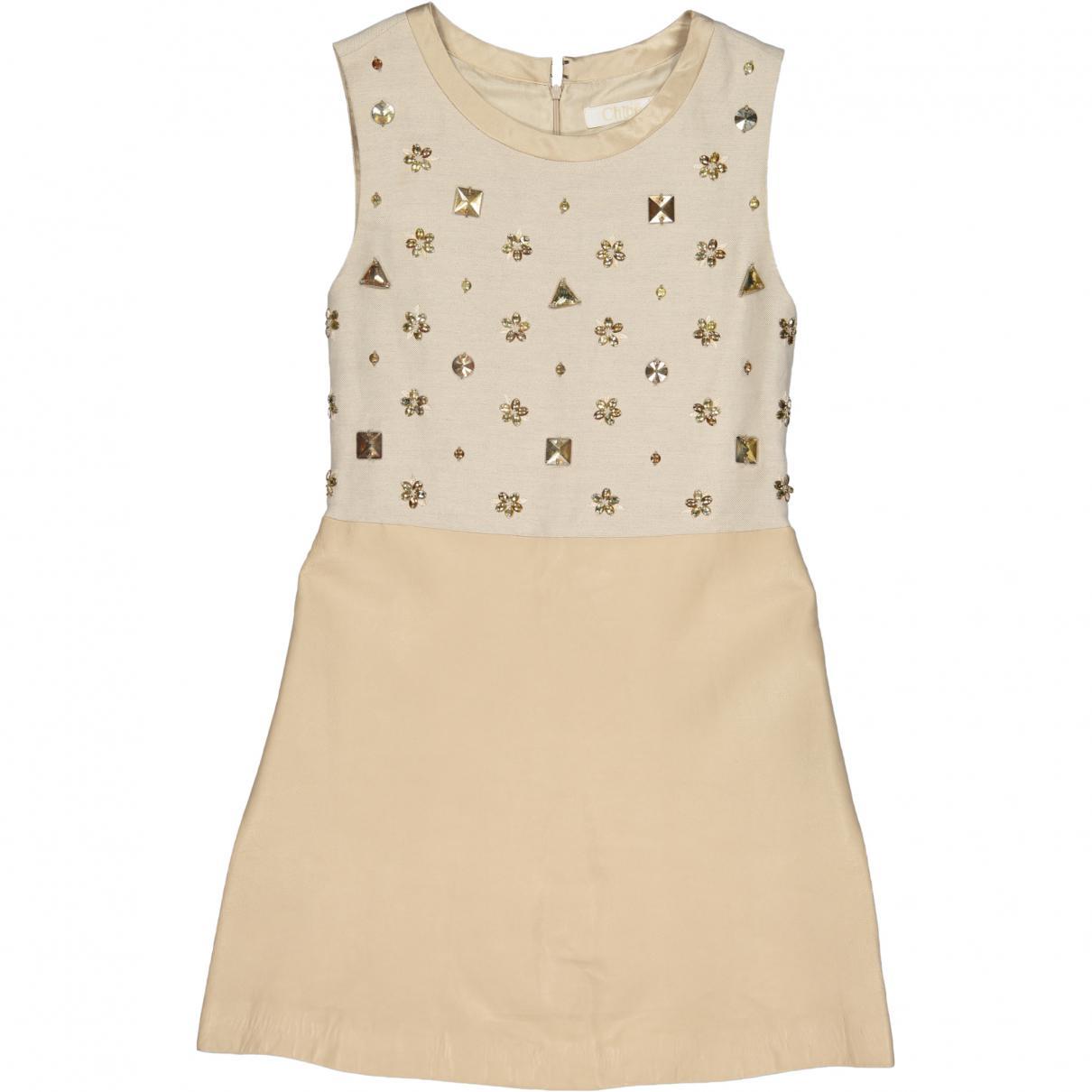 47088e16e Lyst - Chloé Linen Mid-length Dress in Natural
