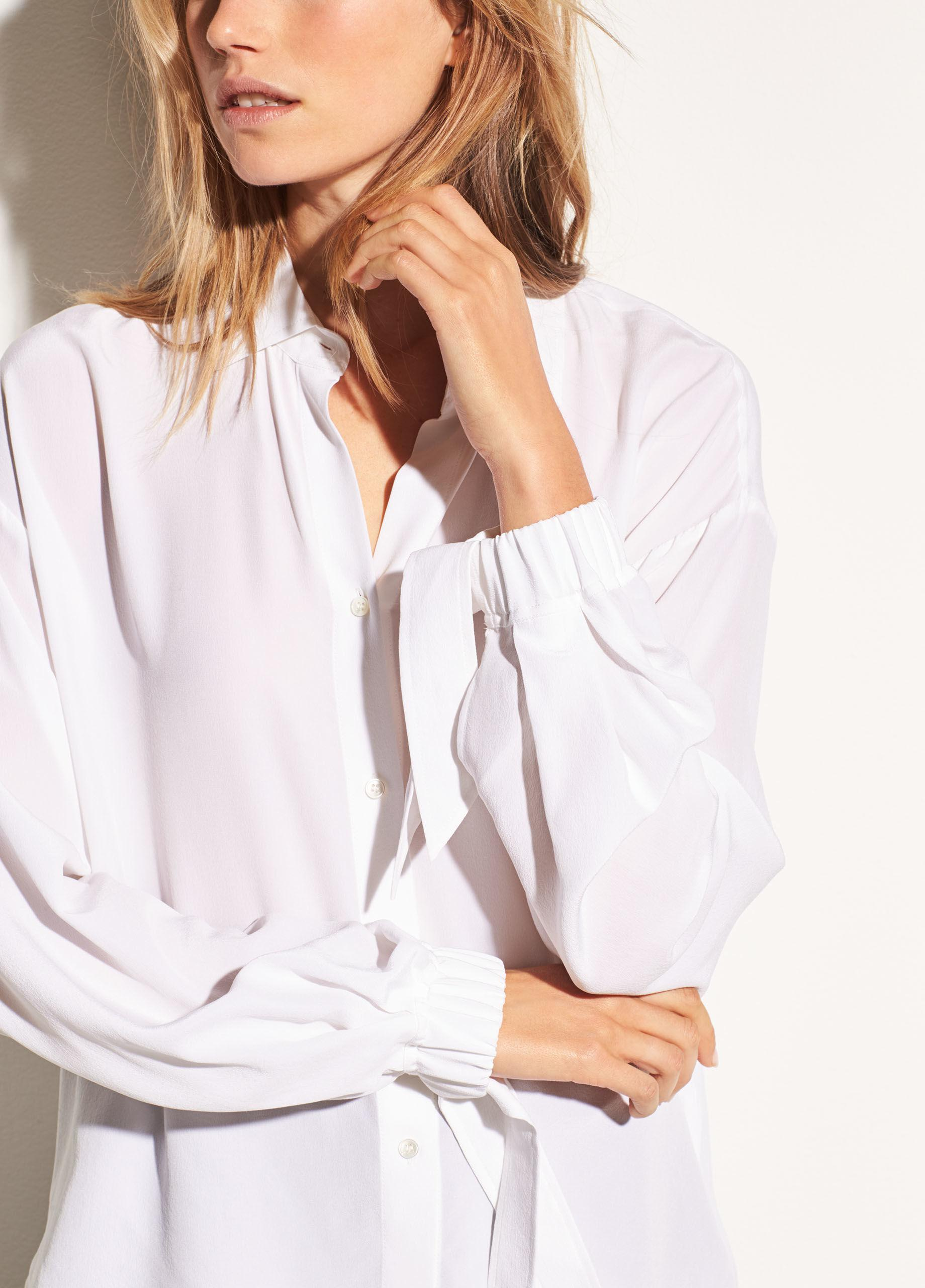 89d17ace0bbd19 Vince Tie Sleeve Silk Blouse - Lyst