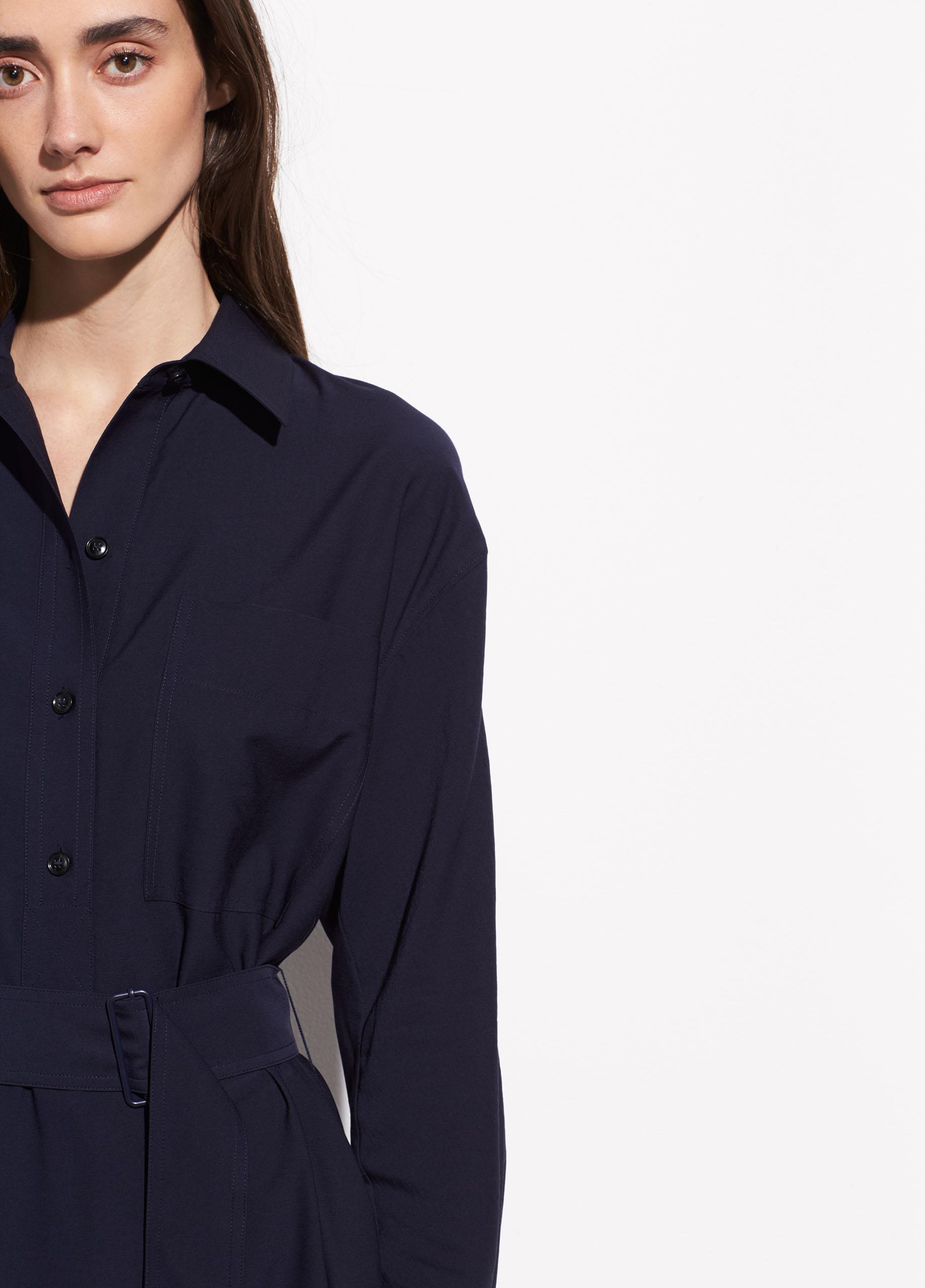 e005dfee42d0c8 Lyst - Vince Long Sleeve Utility Shirt Dress in Blue