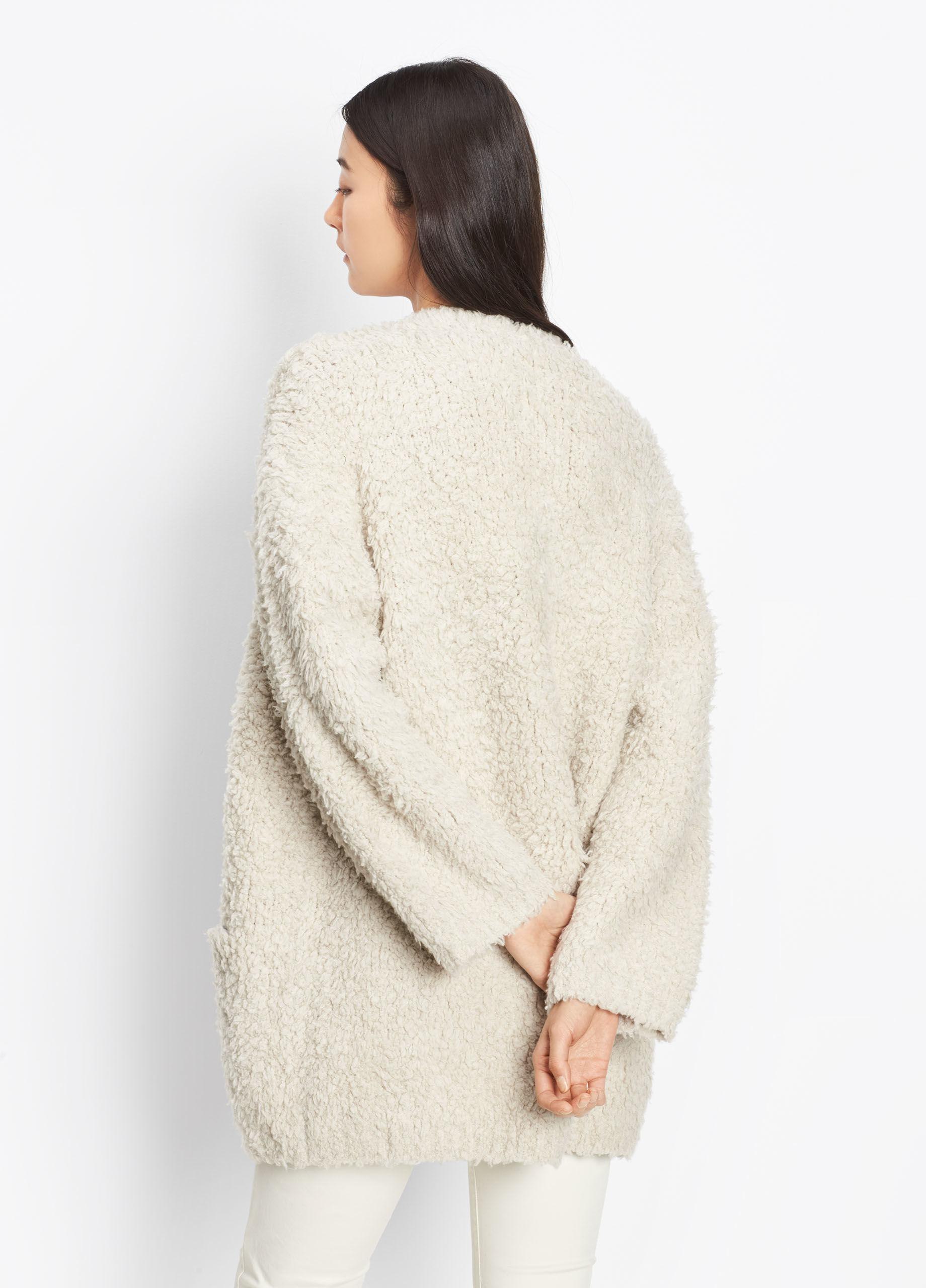 18fea7267942f Vince Cashmere Teddy Cardigan in Natural - Lyst