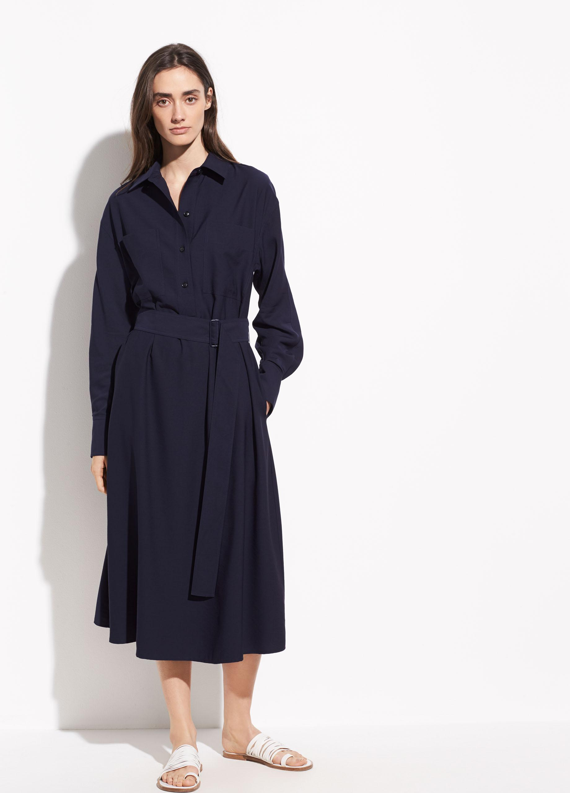 e005dfee42d0c8 Lyst - Vince Long Sleeve Utility Shirt Dress in Blue