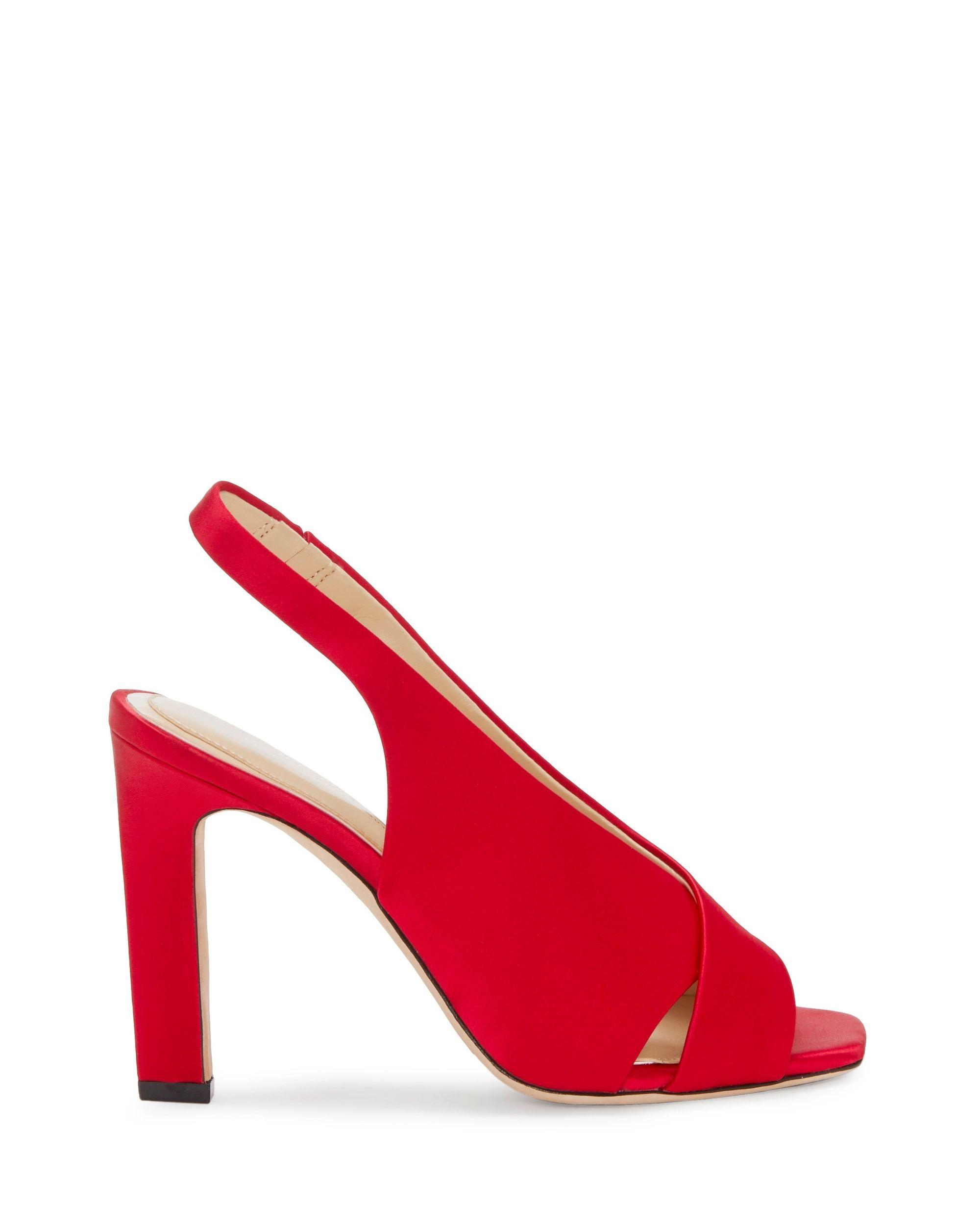 e8a61ba390b Lyst - Vince Camuto Imagine Wrennie – Satin Peep-toe Sandal in Red - Save  47%