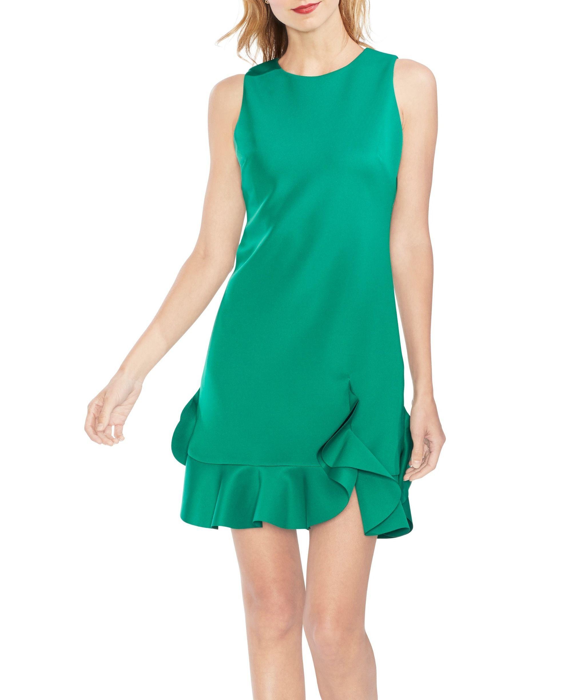 3c4cc376236 Vince Camuto - Green Scuba Ruffle-hem Dress - Lyst. View fullscreen