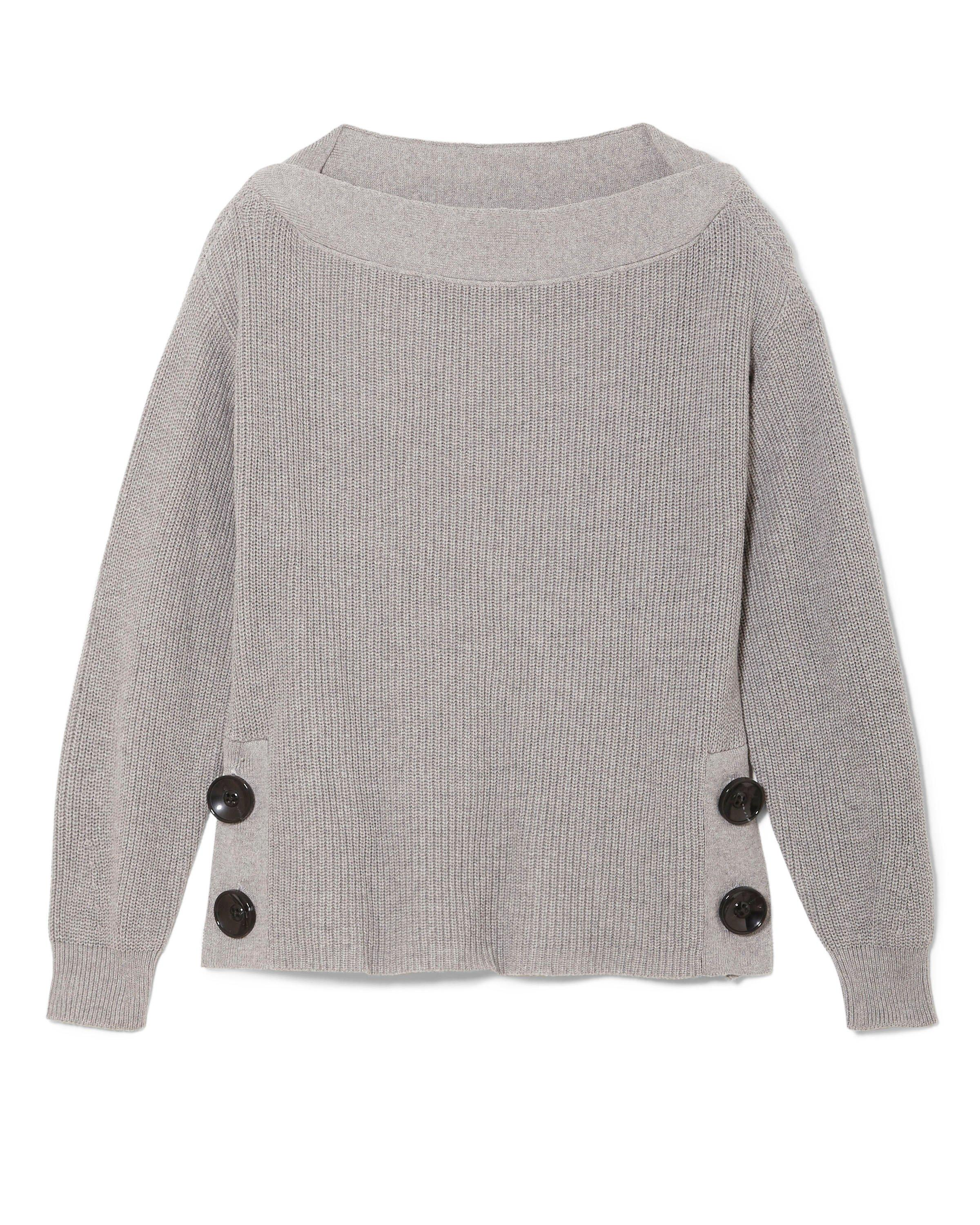 8b251db449e2 Lyst - Vince Camuto Boat Neck Button-detail Sweater in Gray