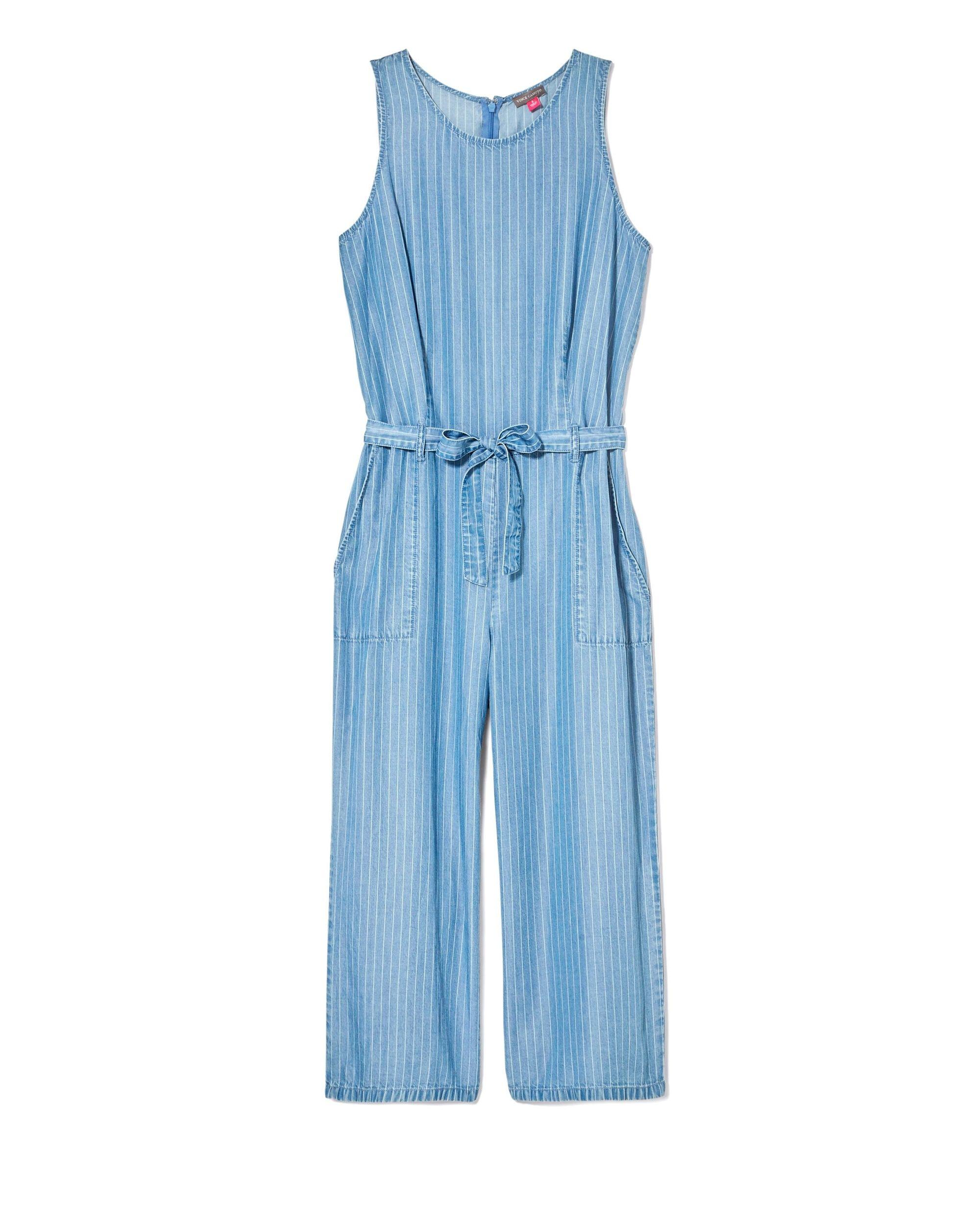 e1b8ef0c717 Lyst - Vince Camuto Striped Culotte Jumpsuit in Blue - Save 41%