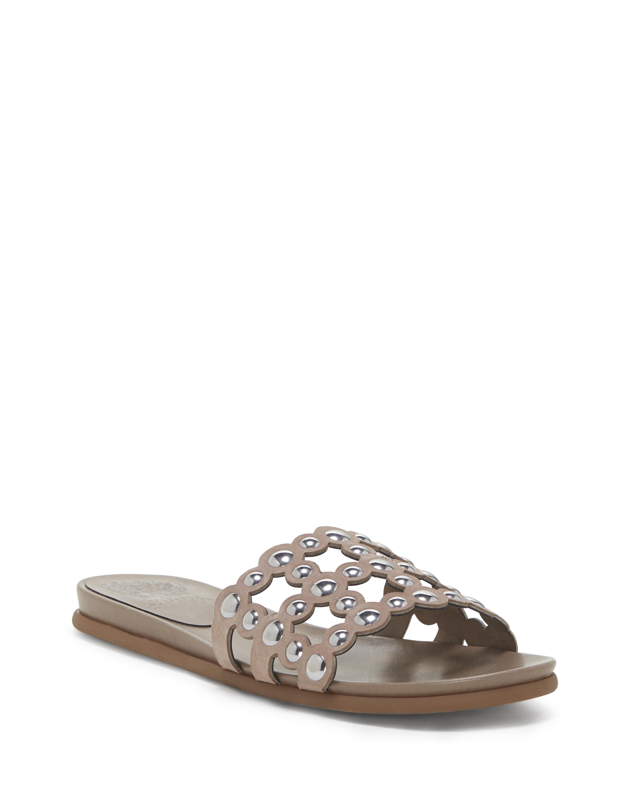 Vince Camuto Women's Ellanna Studded Leather Cage Slide Sandals JnnpM