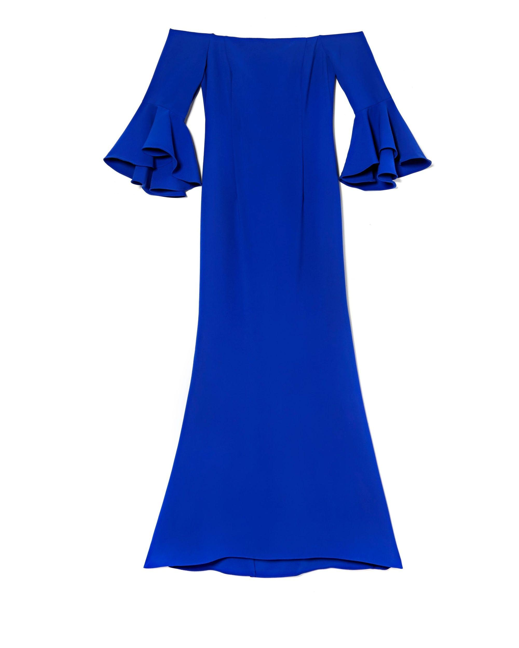 d3042db5142 Lyst - Vince Camuto Bell-sleeve Off-the-shoulder Gown in Blue
