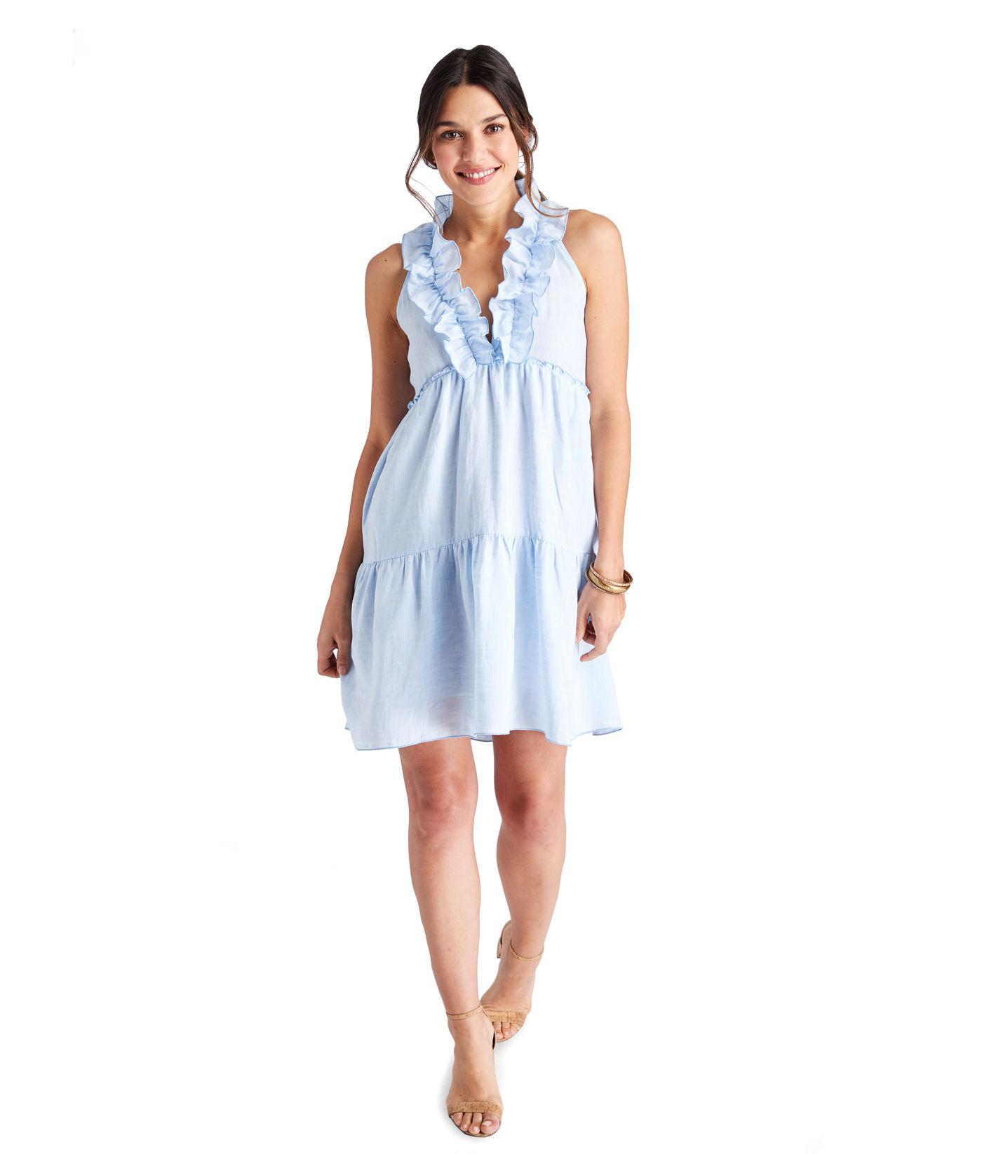 9b86afff5f Lyst - Vineyard Vines V-neck Ruffled Tiered Dress in Blue