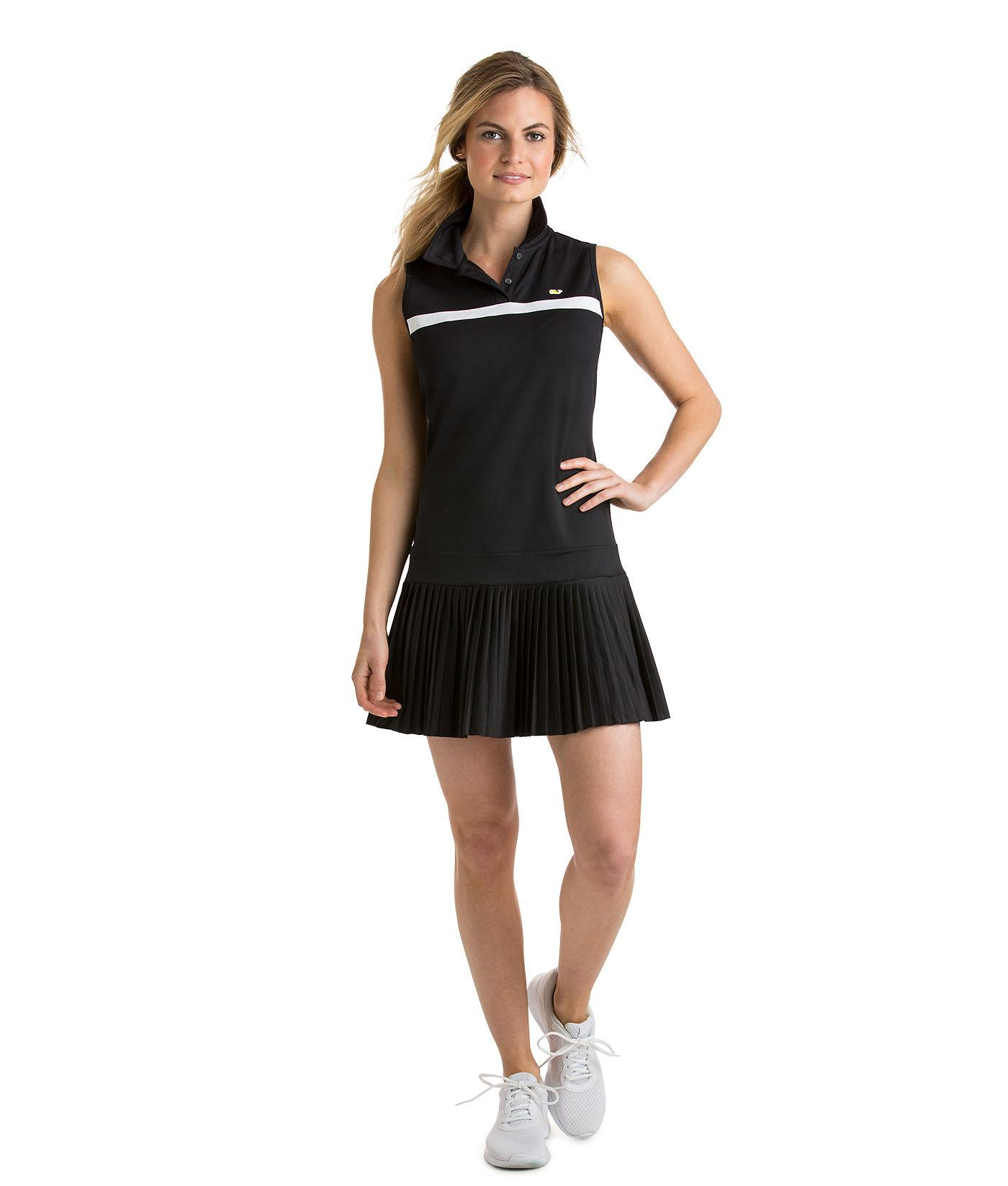 94e9fca0cc Vineyard Vines Sleeveless Pleated Tennis Dress in Black - Lyst