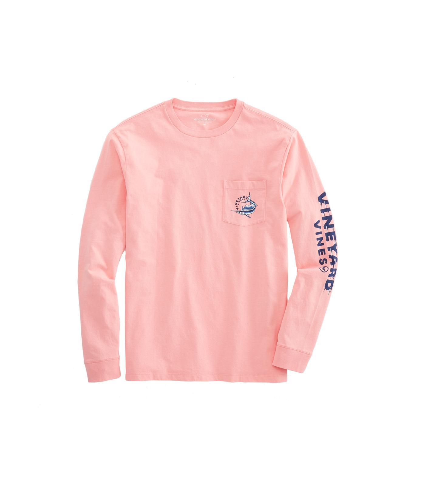 Lyst - Vineyard Vines Long-sleeve Sailfish Vortex Pocket T-shirt in Pink  for Men 290fb09f0