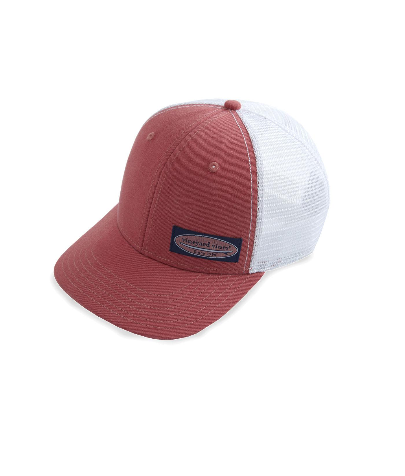 790d410b54d Lyst - Vineyard Vines High Profile Surf Label Trucker Hat in Red for Men