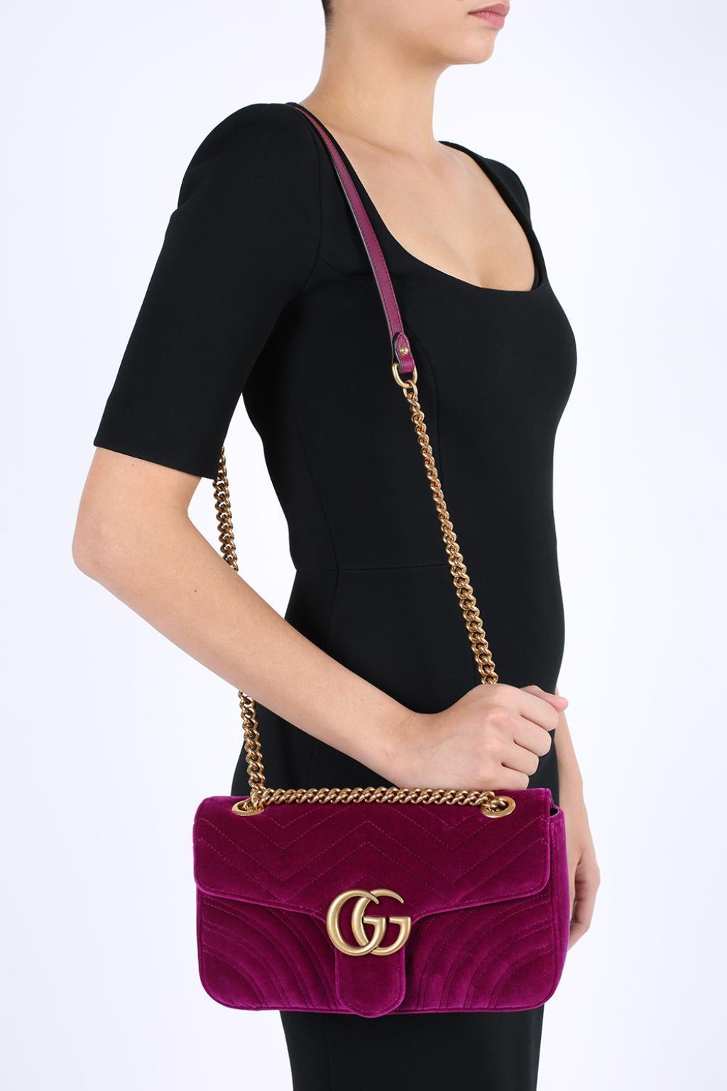 56384c88dd3 ...  GG Marmont  Velvet Shoulder Bag - Lyst. View fullscreen